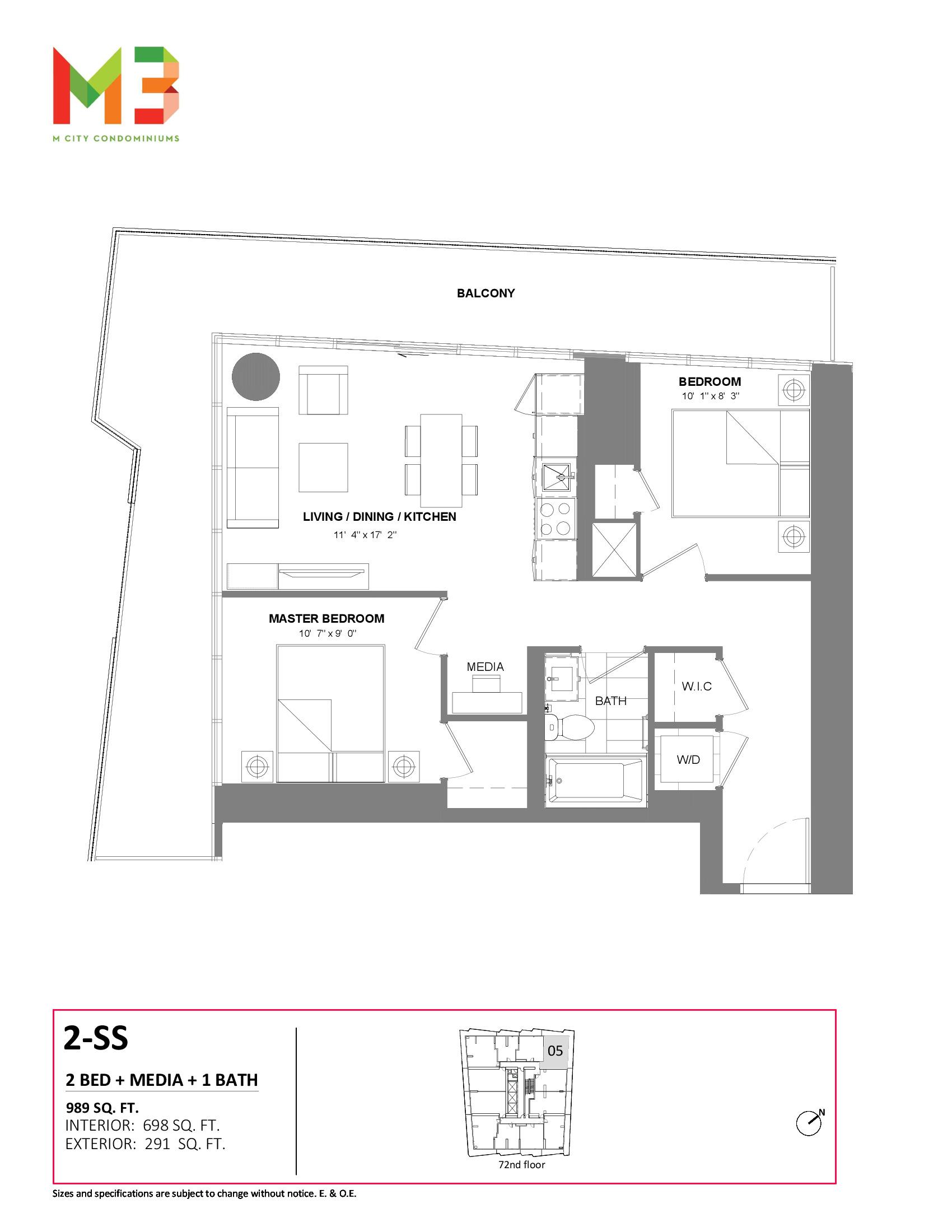 2-SS Floor Plan at M3 Condos - 698 sq.ft