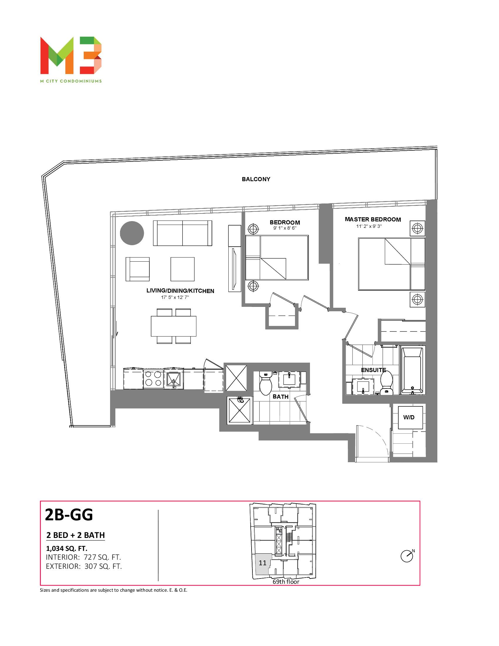 2B-GG Floor Plan at M3 Condos - 727 sq.ft