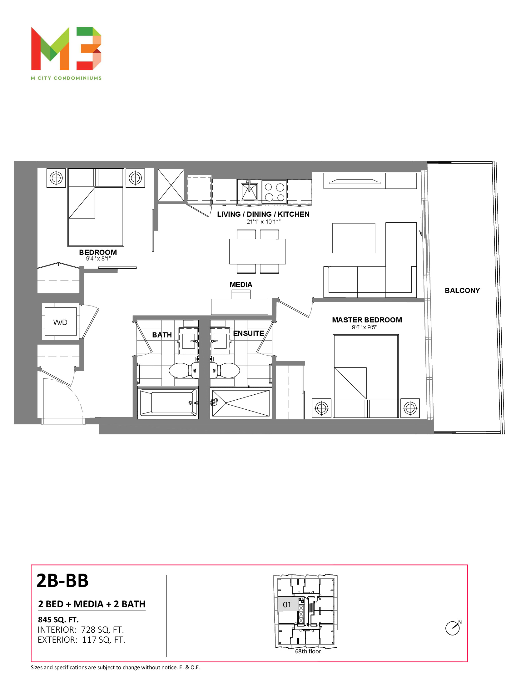 2B-BB Floor Plan at M3 Condos - 728 sq.ft
