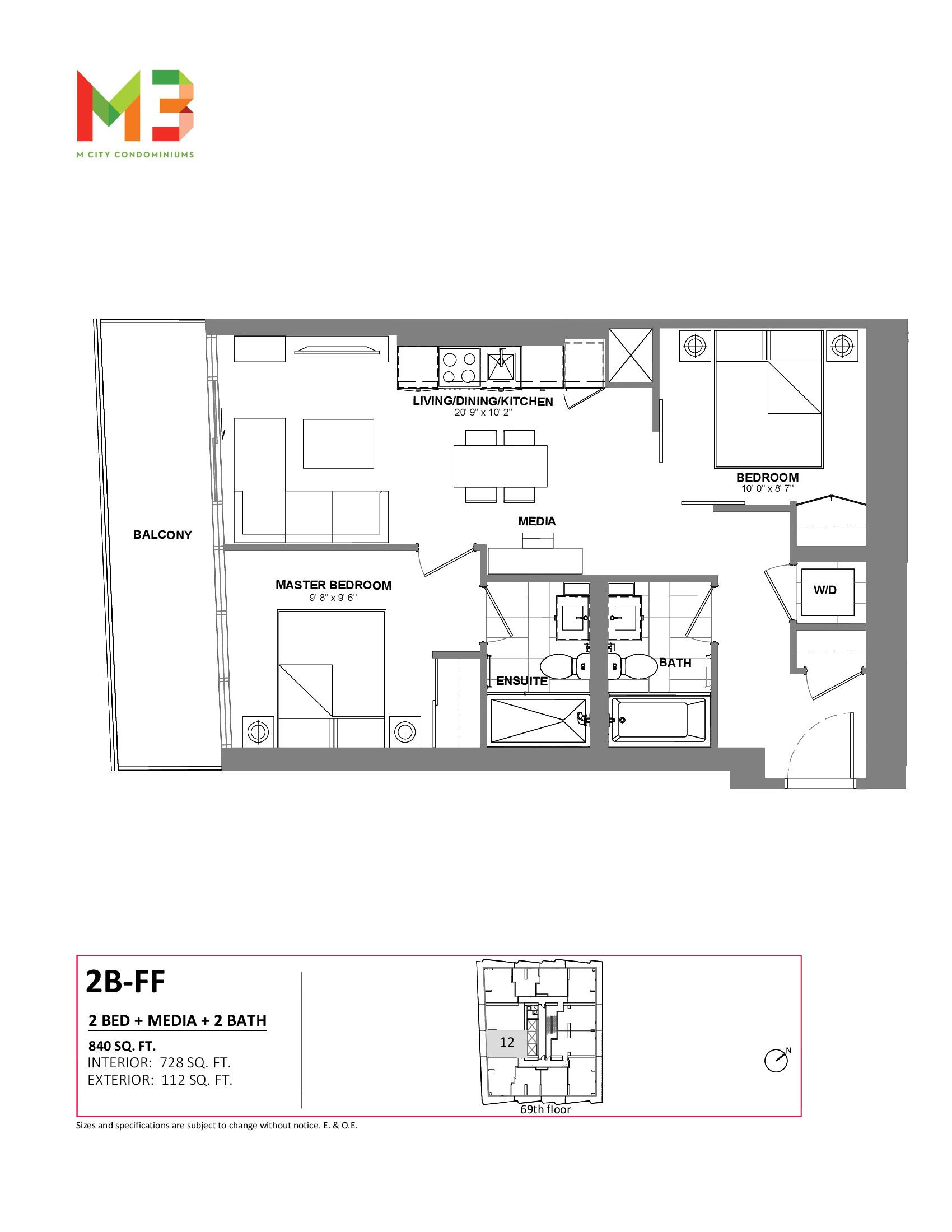 2B-FF Floor Plan at M3 Condos - 728 sq.ft
