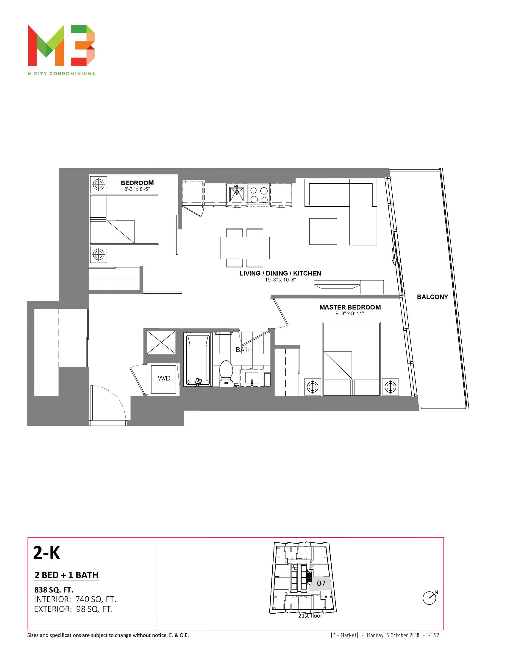 2-K Floor Plan at M3 Condos - 740 sq.ft