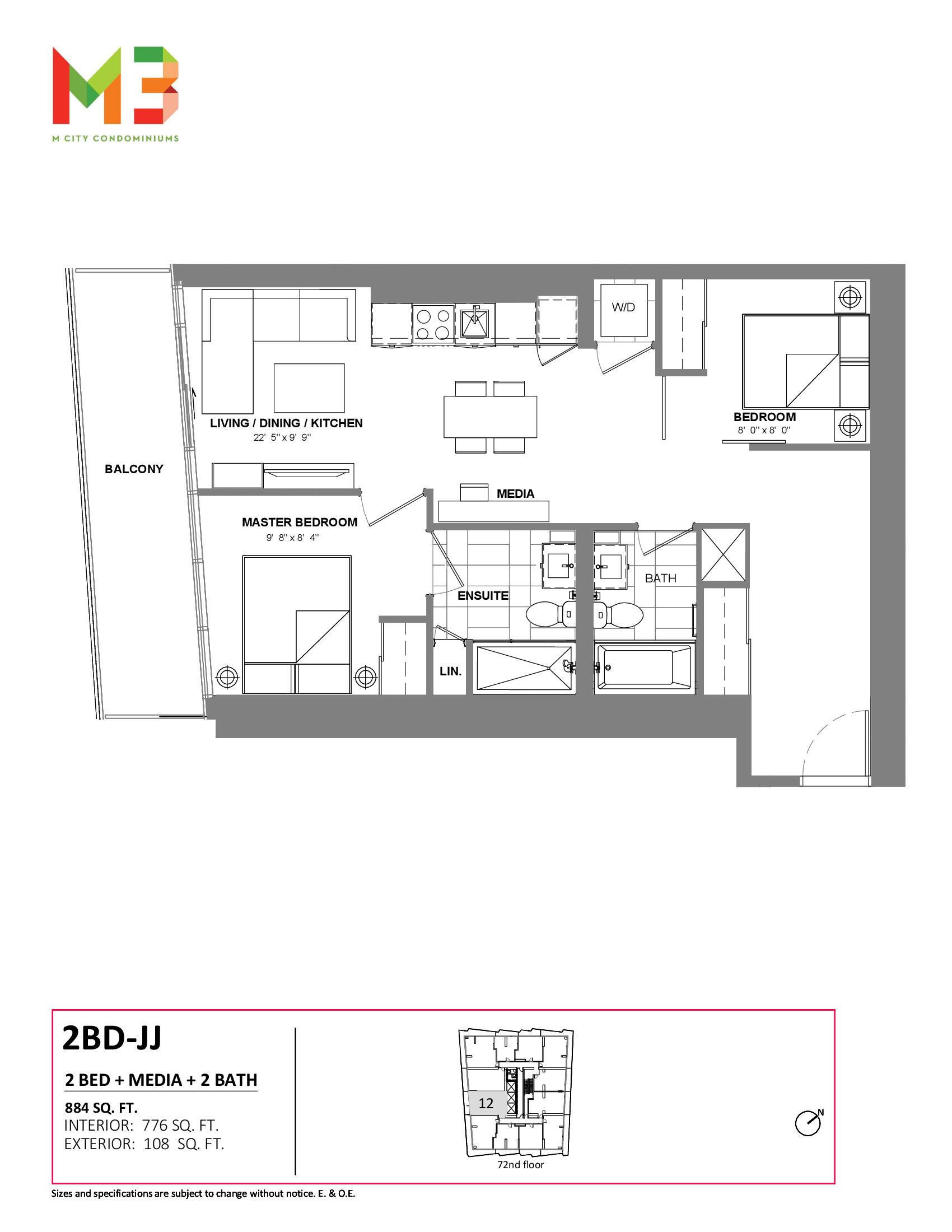 2BD-JJ Floor Plan at M3 Condos - 776 sq.ft
