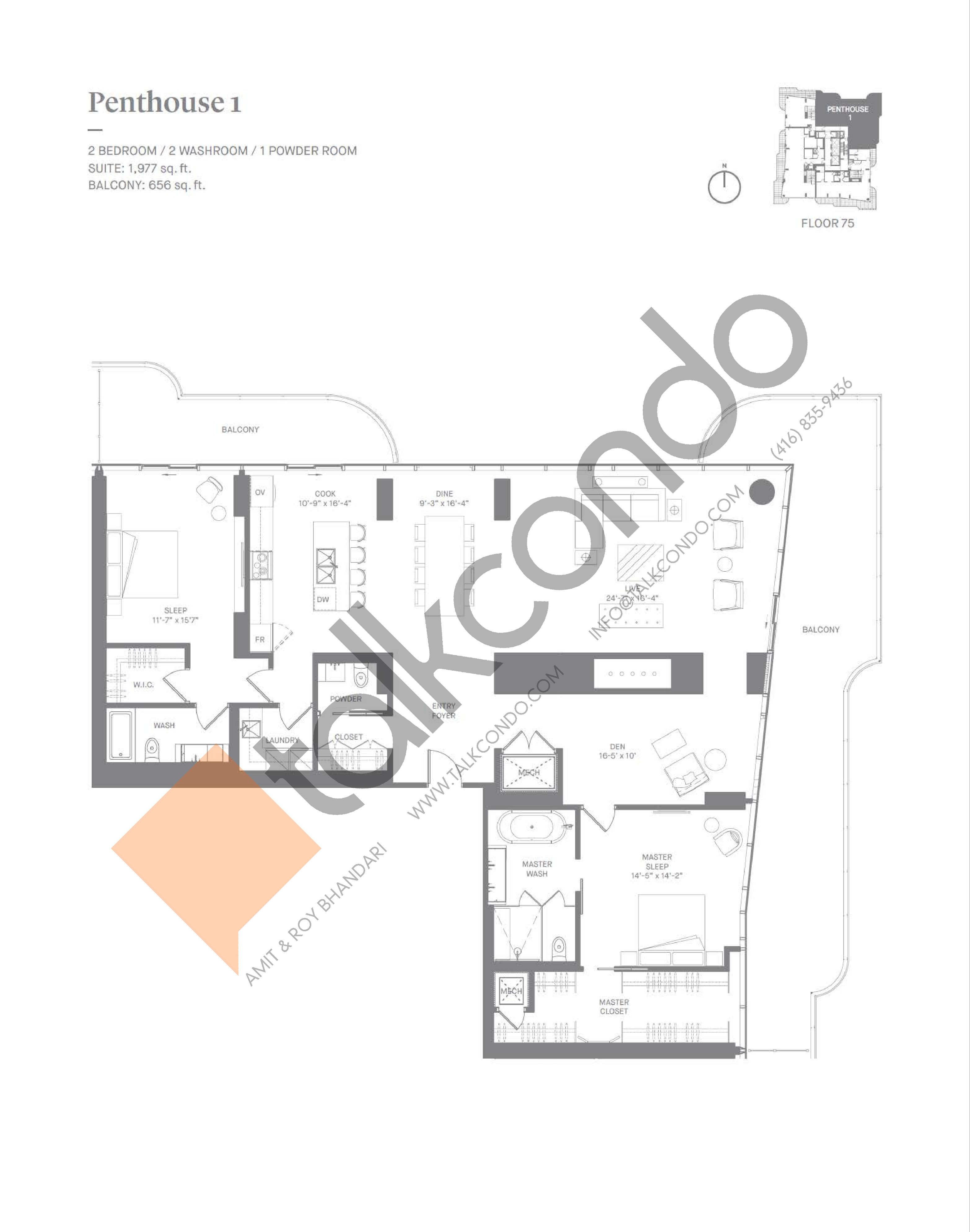 Penthouse 1 Floor Plan at One Bloor Condos - 1977 sq.ft