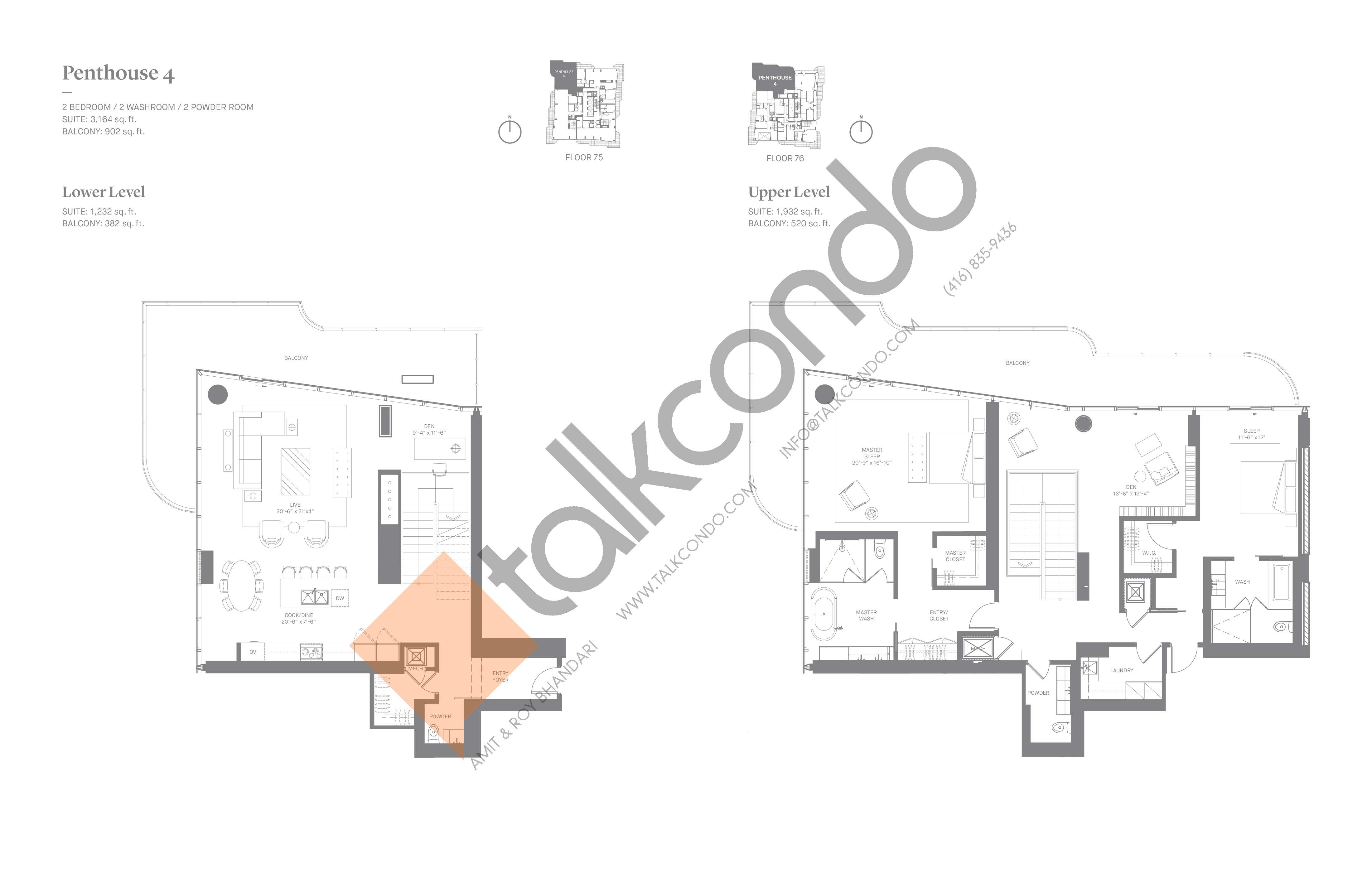 Penthouse 4 Floor Plan at One Bloor Condos - 3164 sq.ft