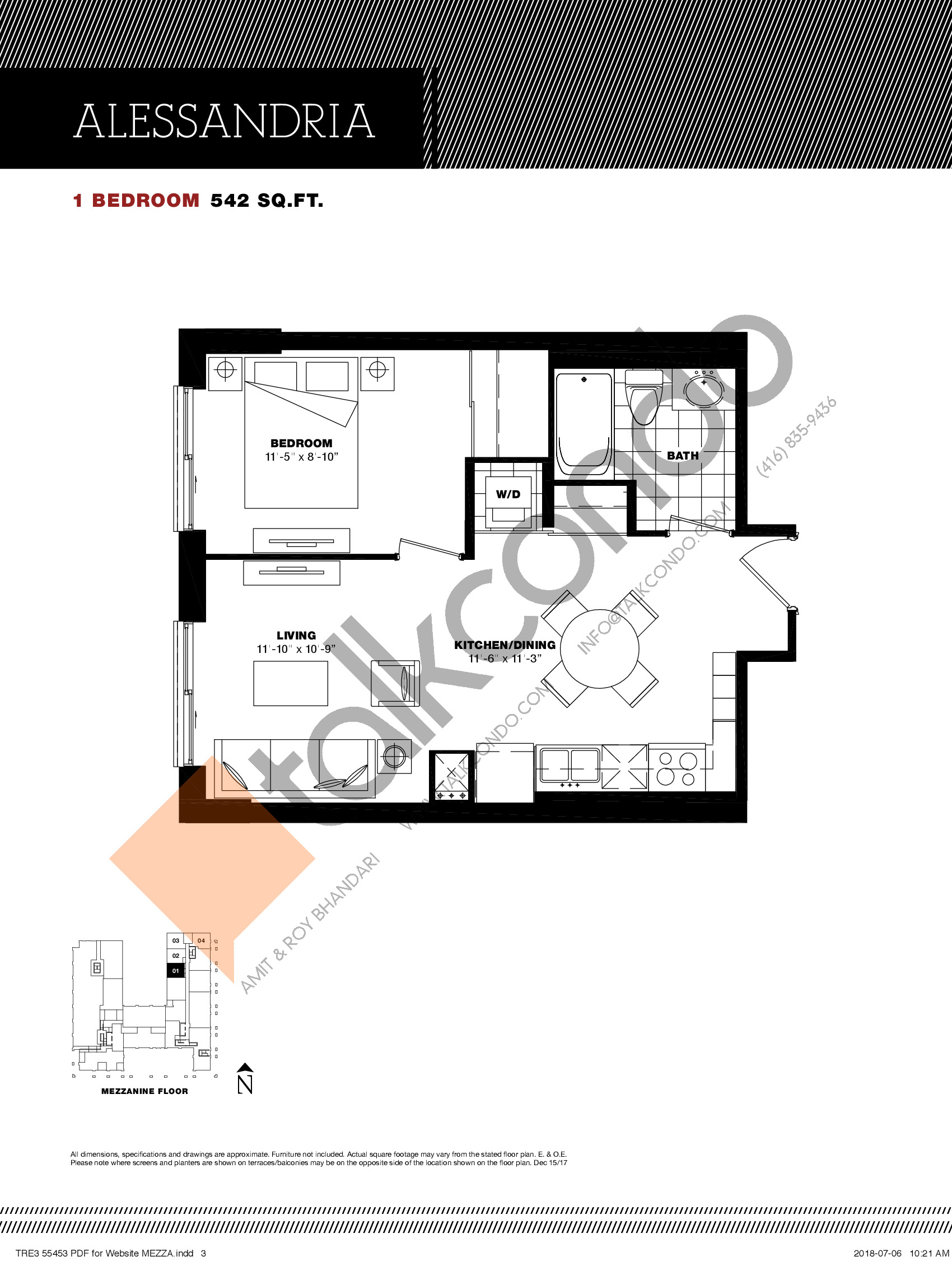 Alessandria Floor Plan at Residenze Palazzo at Treviso 3 Condos - 542 sq.ft