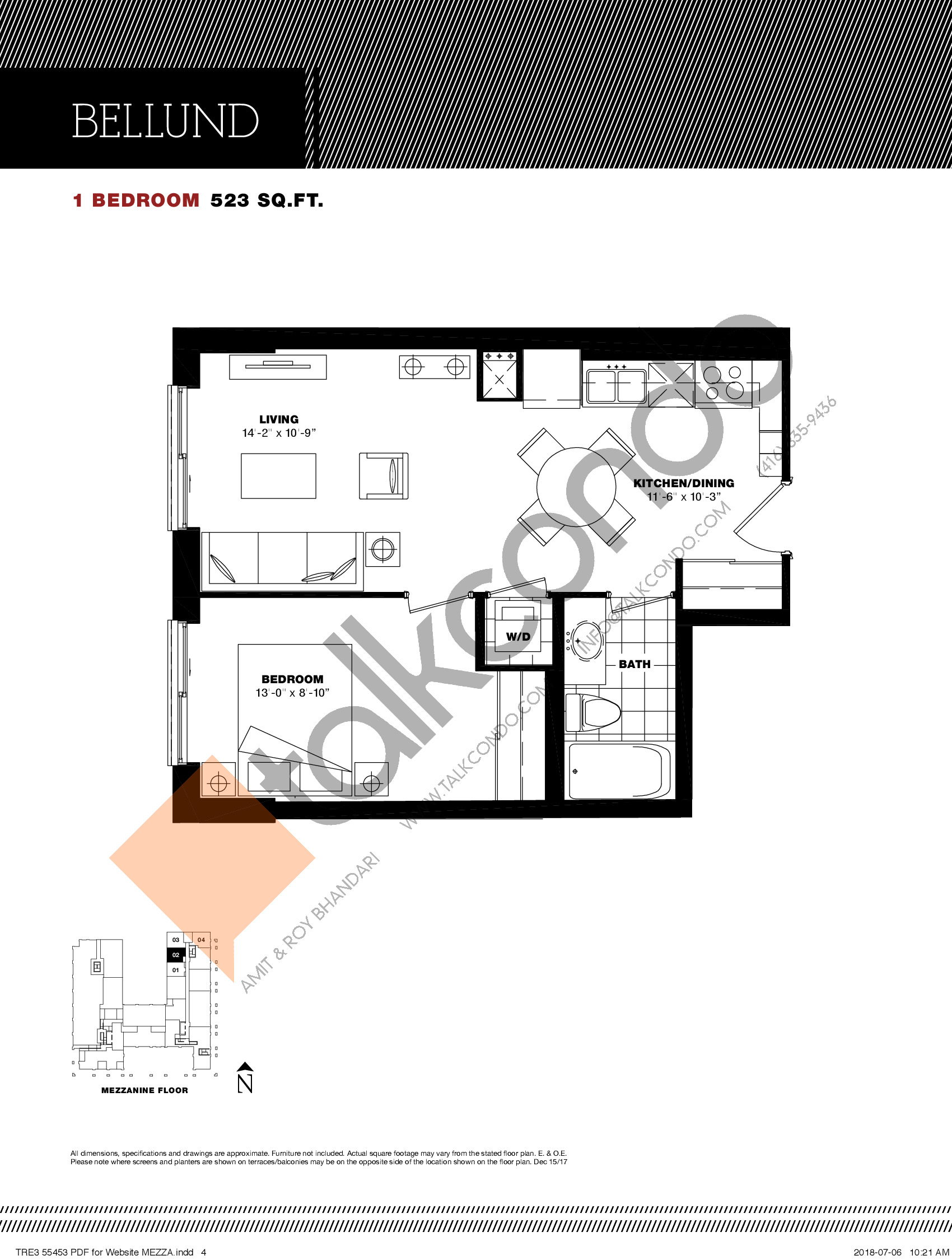 Bellund Floor Plan at Residenze Palazzo at Treviso 3 Condos - 523 sq.ft