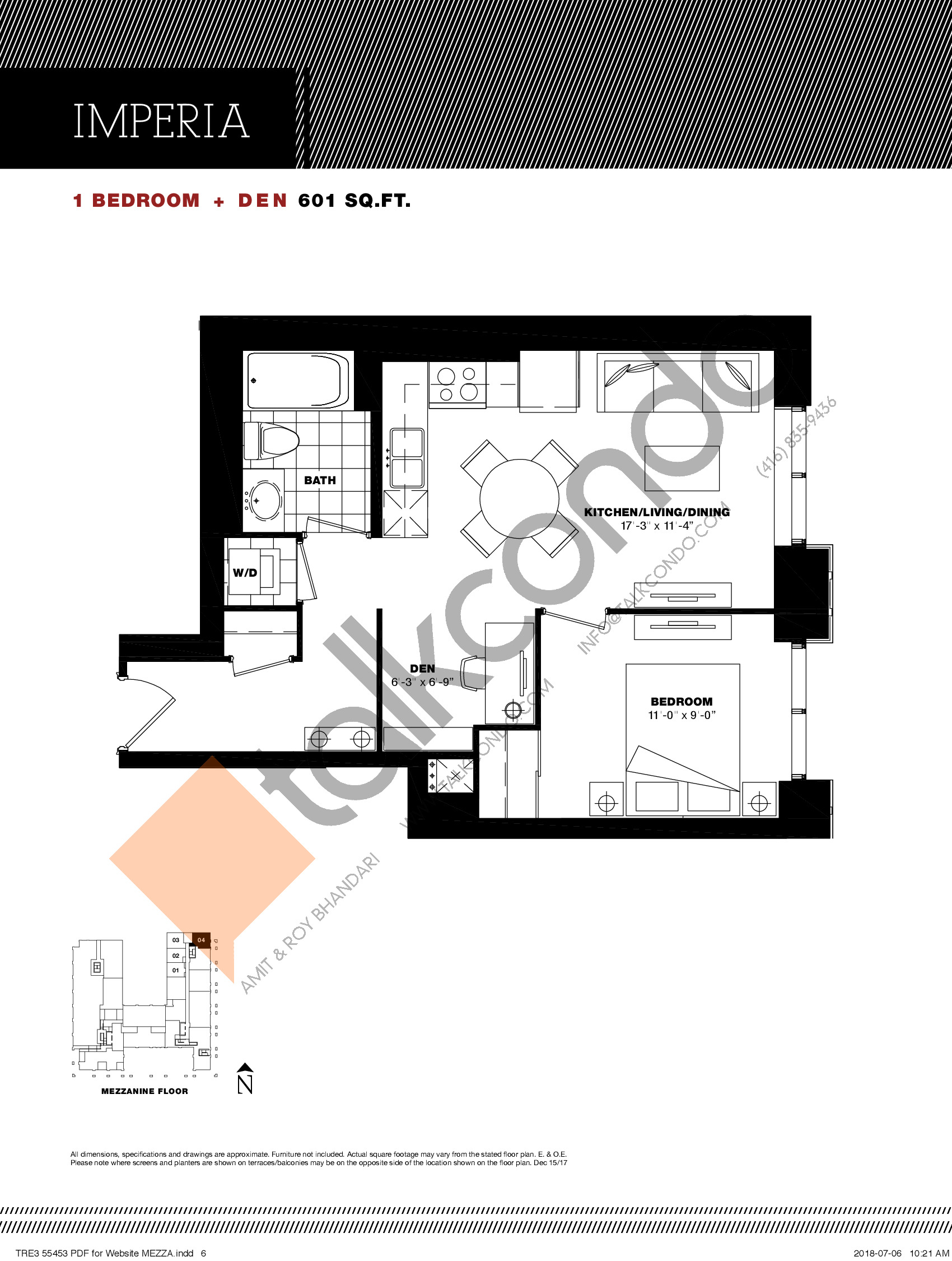 Imperia Floor Plan at Residenze Palazzo at Treviso 3 Condos - 601 sq.ft
