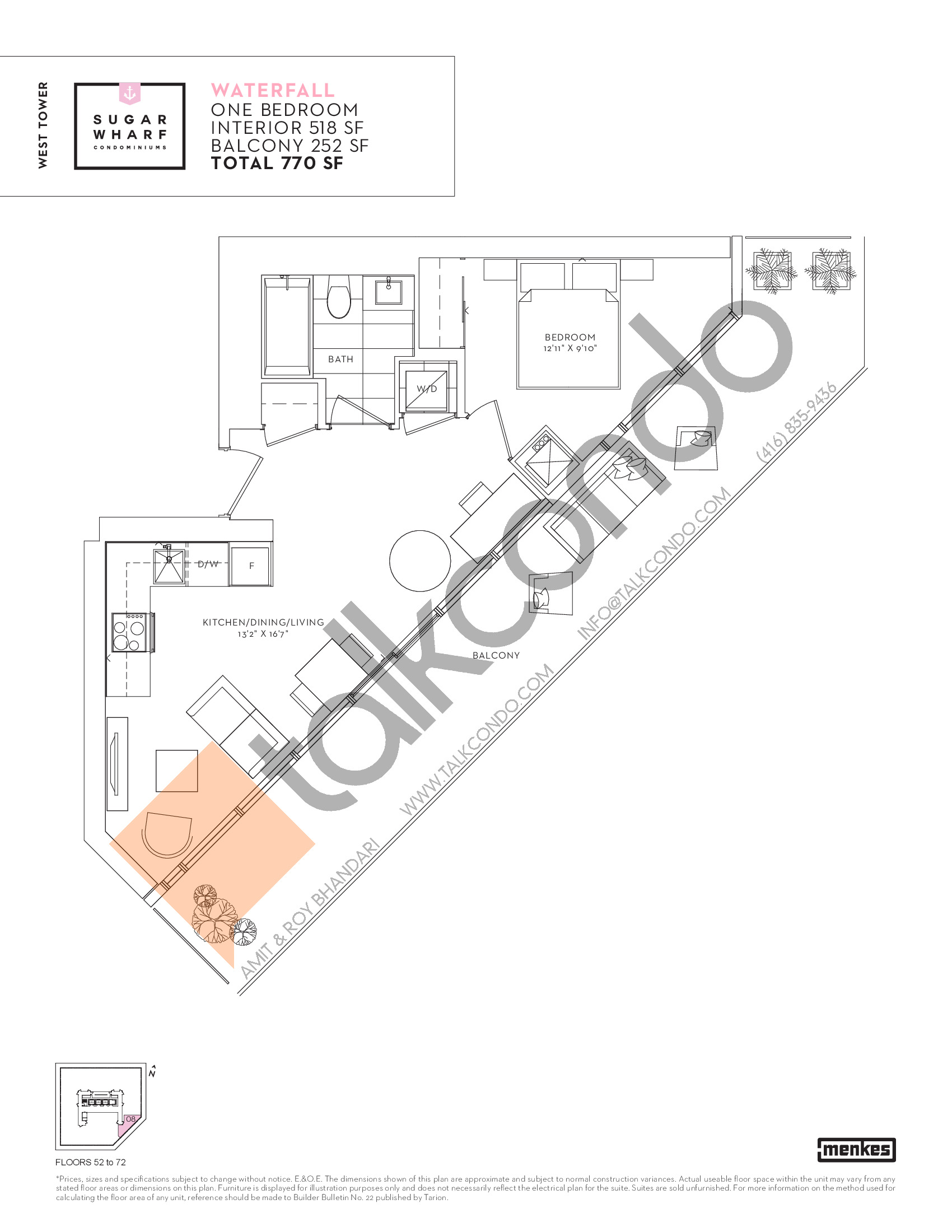 Waterfall Floor Plan at Sugar Wharf Condos West Tower - 518 sq.ft