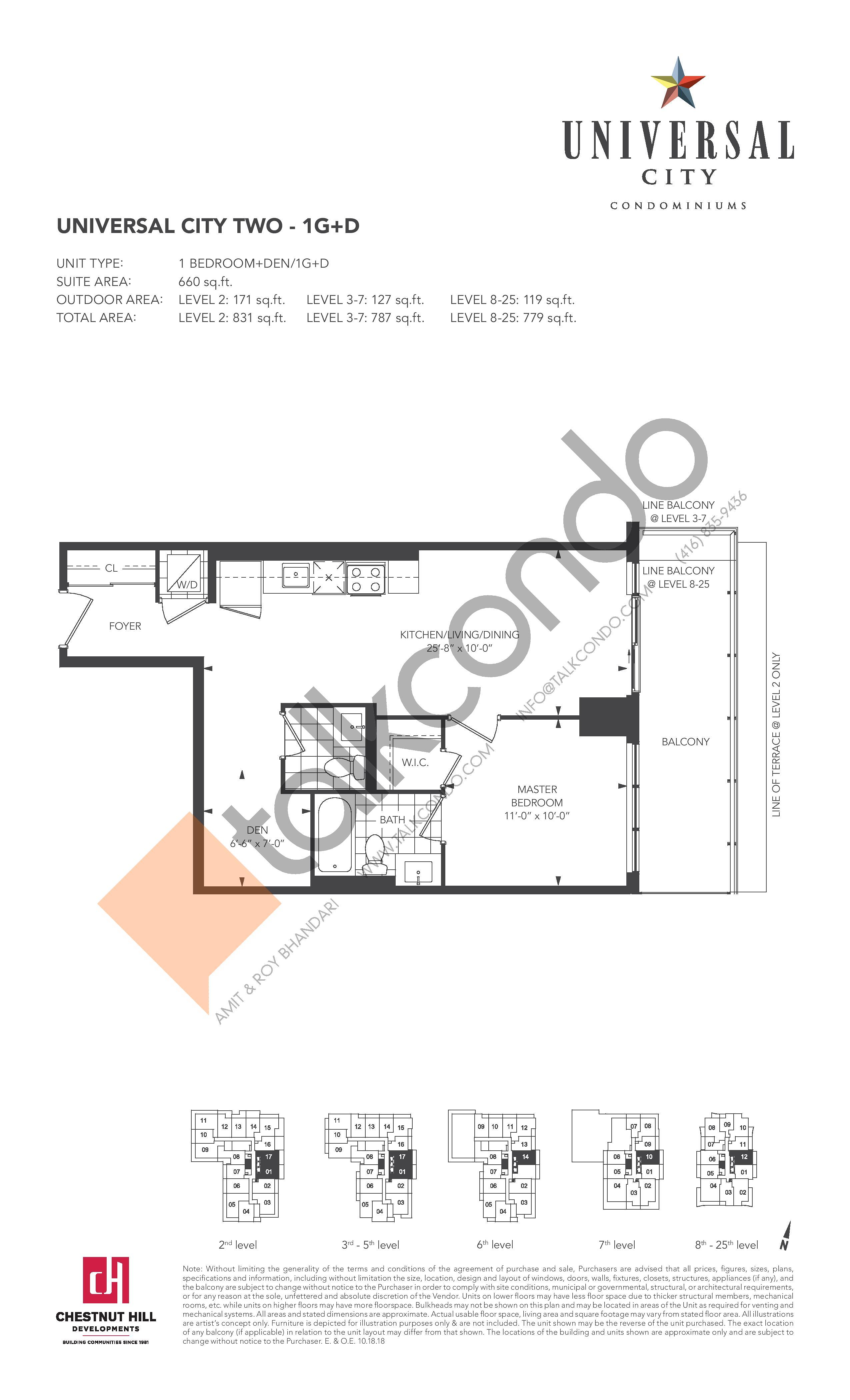 1G+D Floor Plan at Universal City 2 Condos - 660 sq.ft