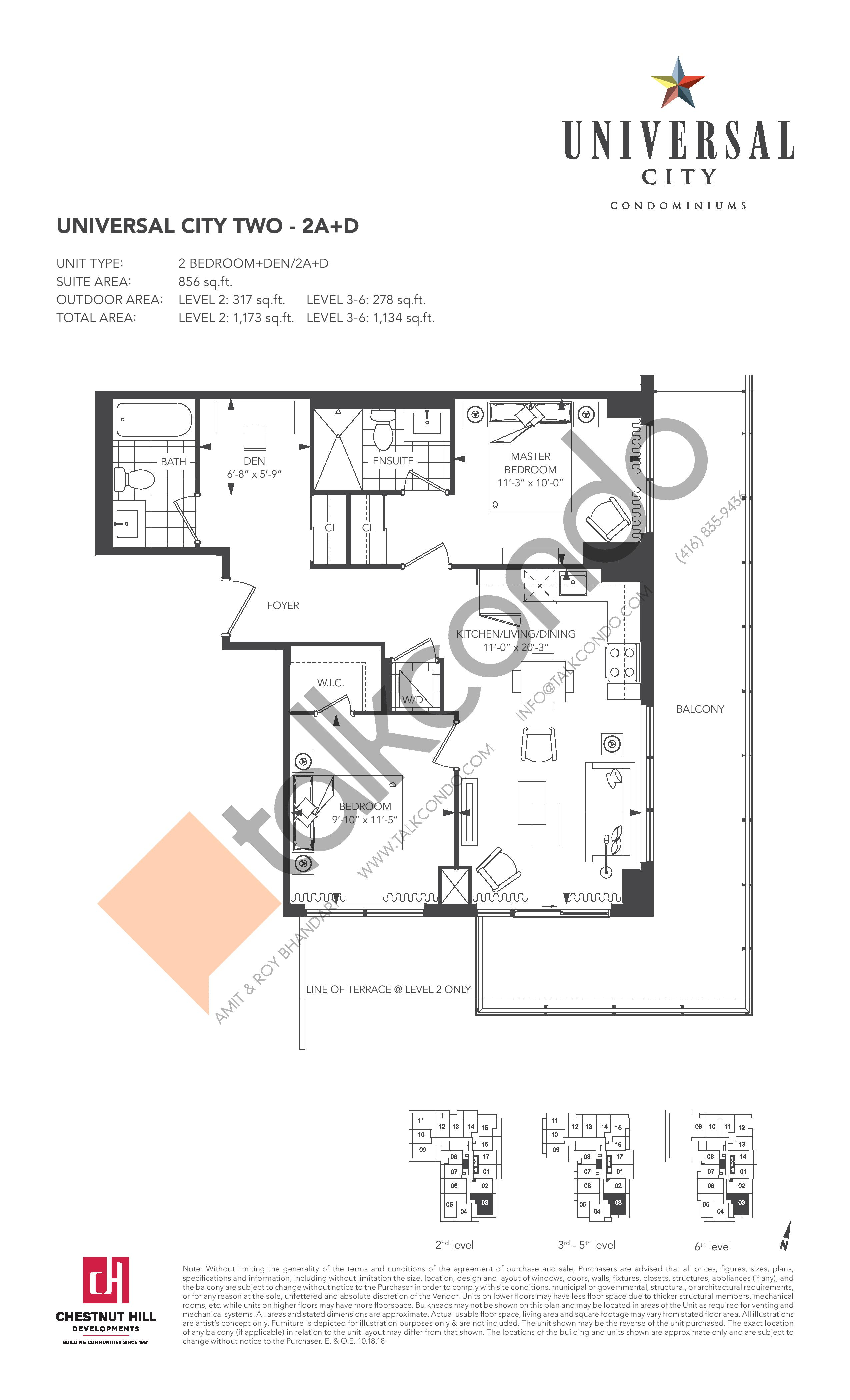 2A+D Floor Plan at Universal City 2 Condos - 856 sq.ft