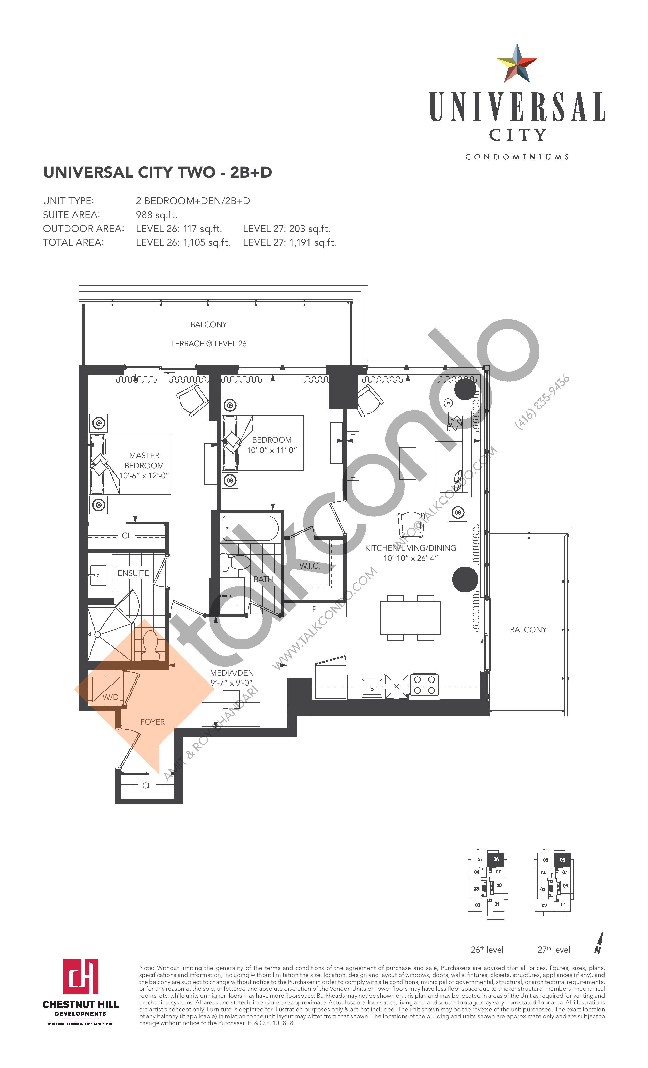 2B+D Floor Plan at Universal City 2 Condos - 988 sq.ft