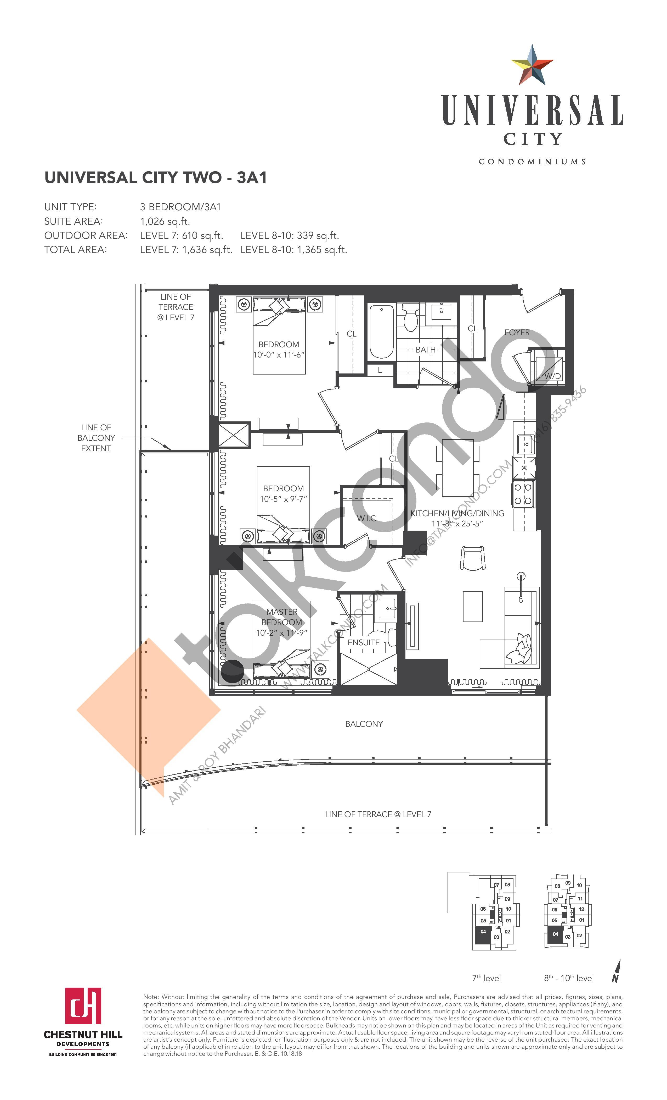 3A1 Floor Plan at Universal City 2 Condos - 1026 sq.ft