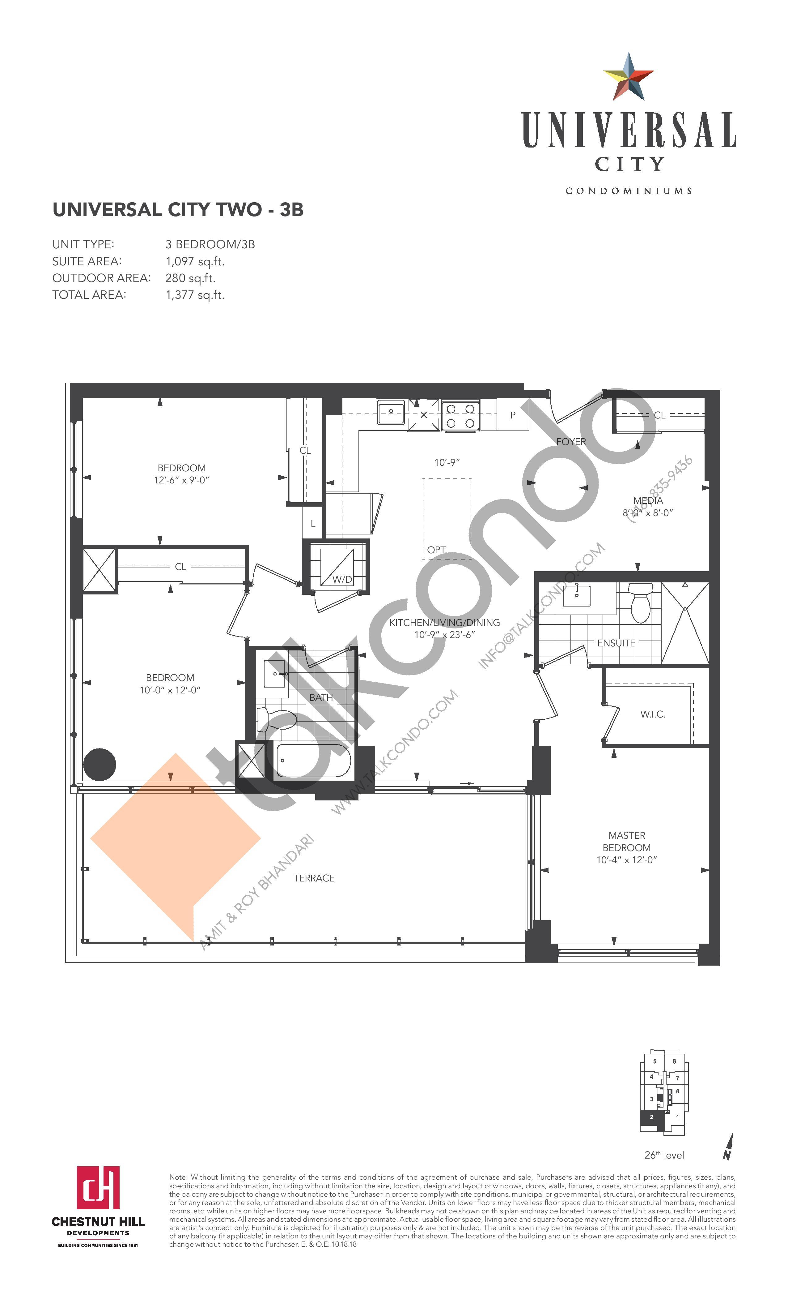 3B Floor Plan at Universal City 2 Condos - 1097 sq.ft