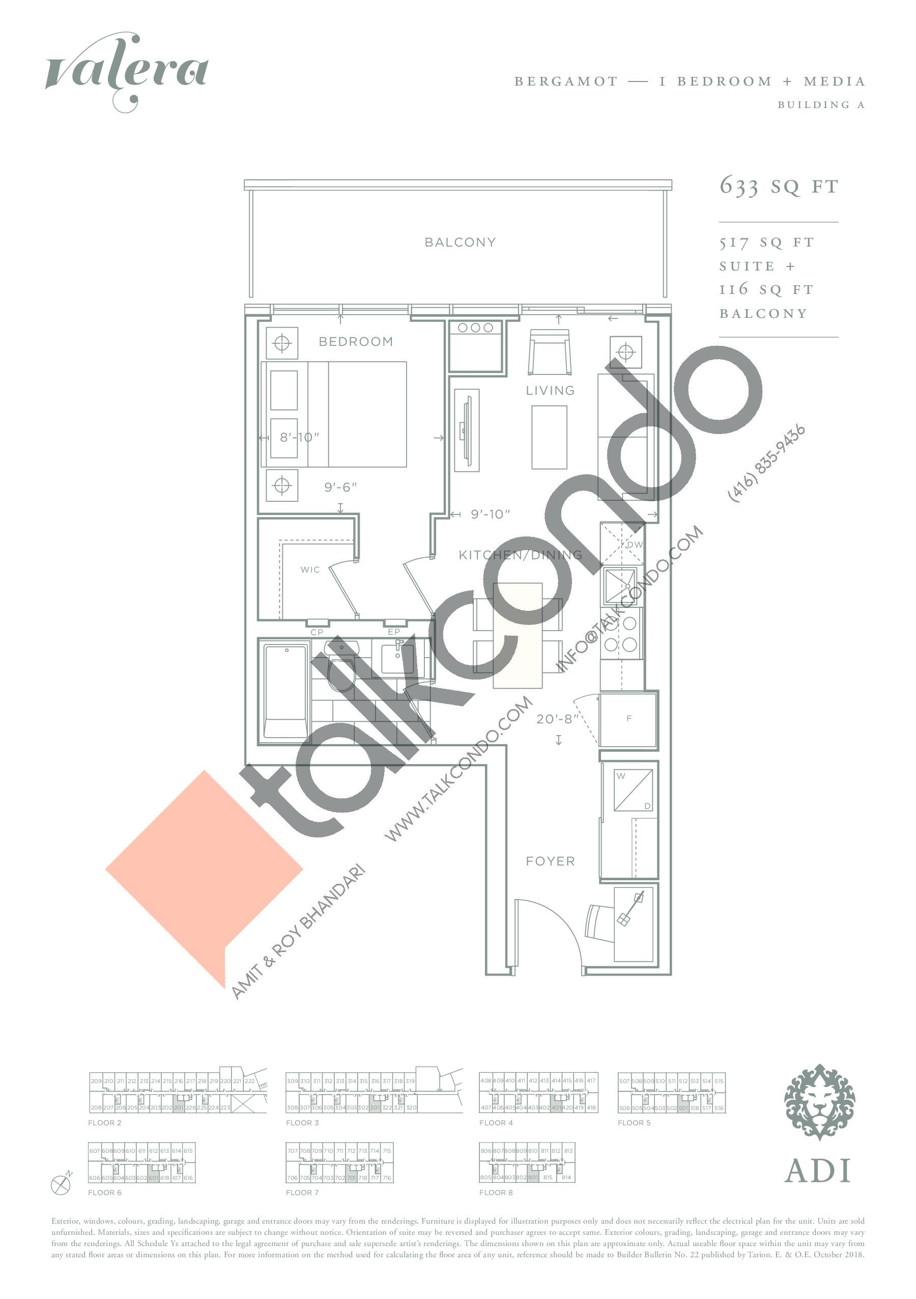 Bergamot Floor Plan at Valera Condos - 517 sq.ft