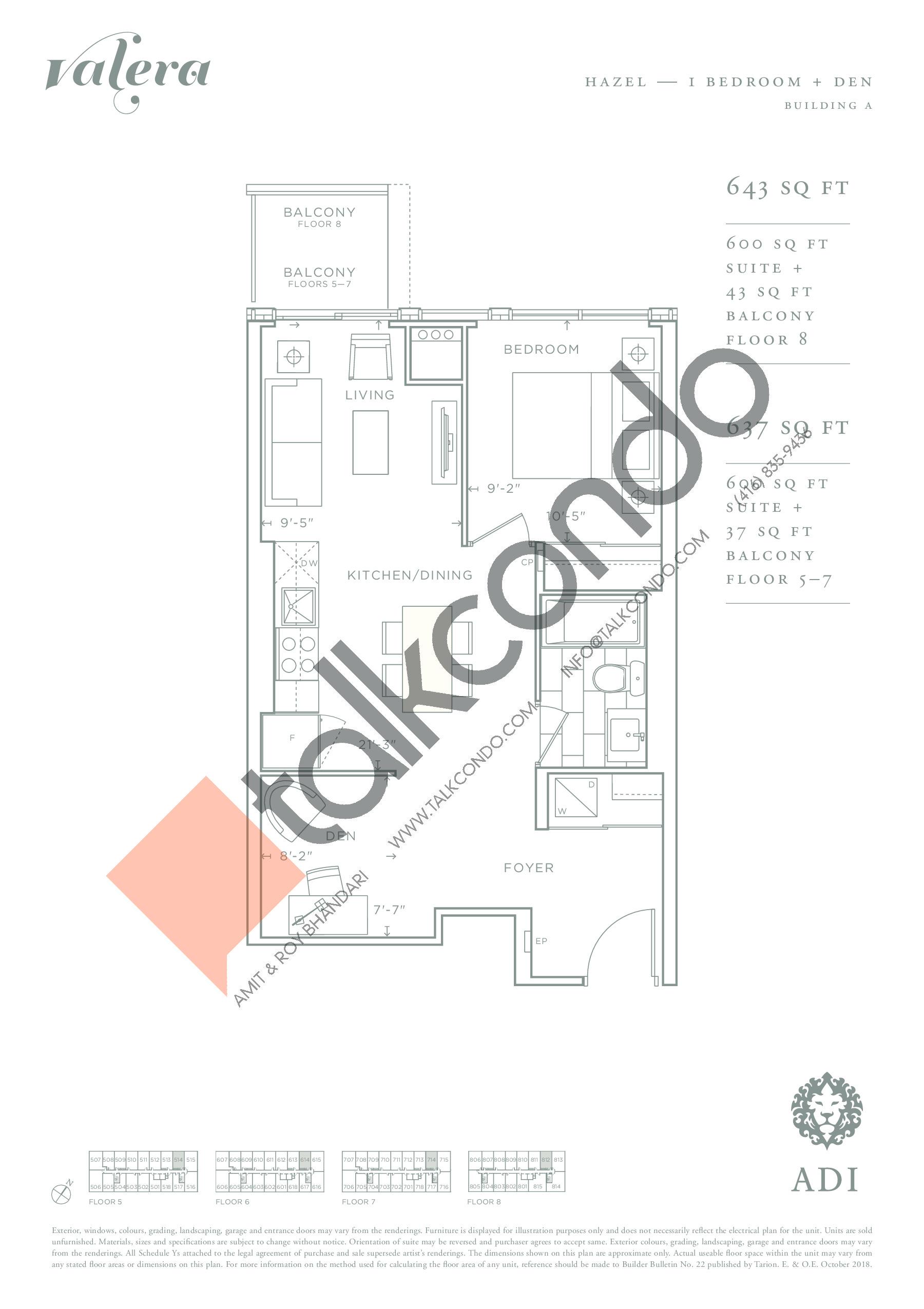 Hazel Floor Plan at Valera Condos - 600 sq.ft