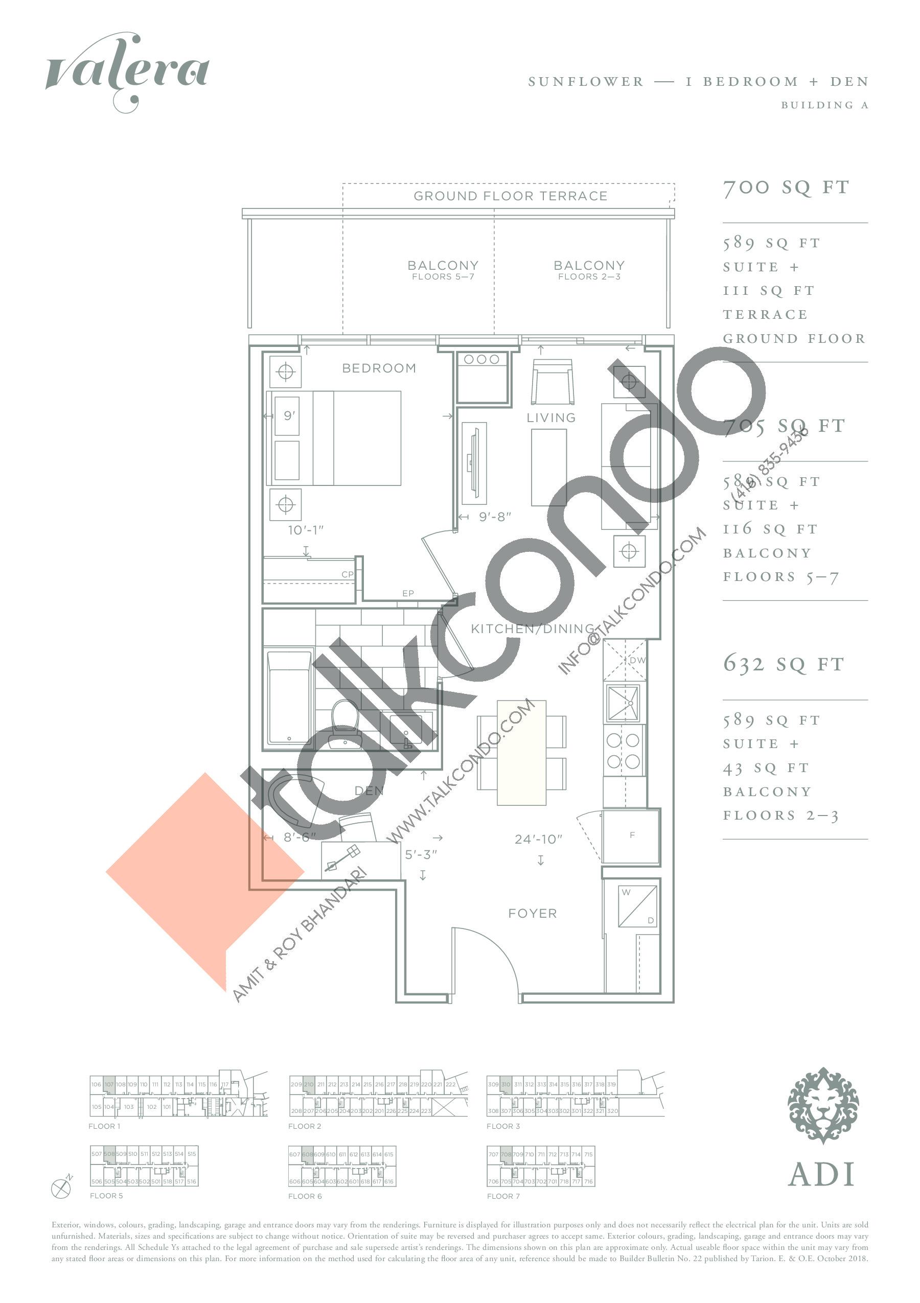 Sunflower Floor Plan at Valera Condos - 589 sq.ft