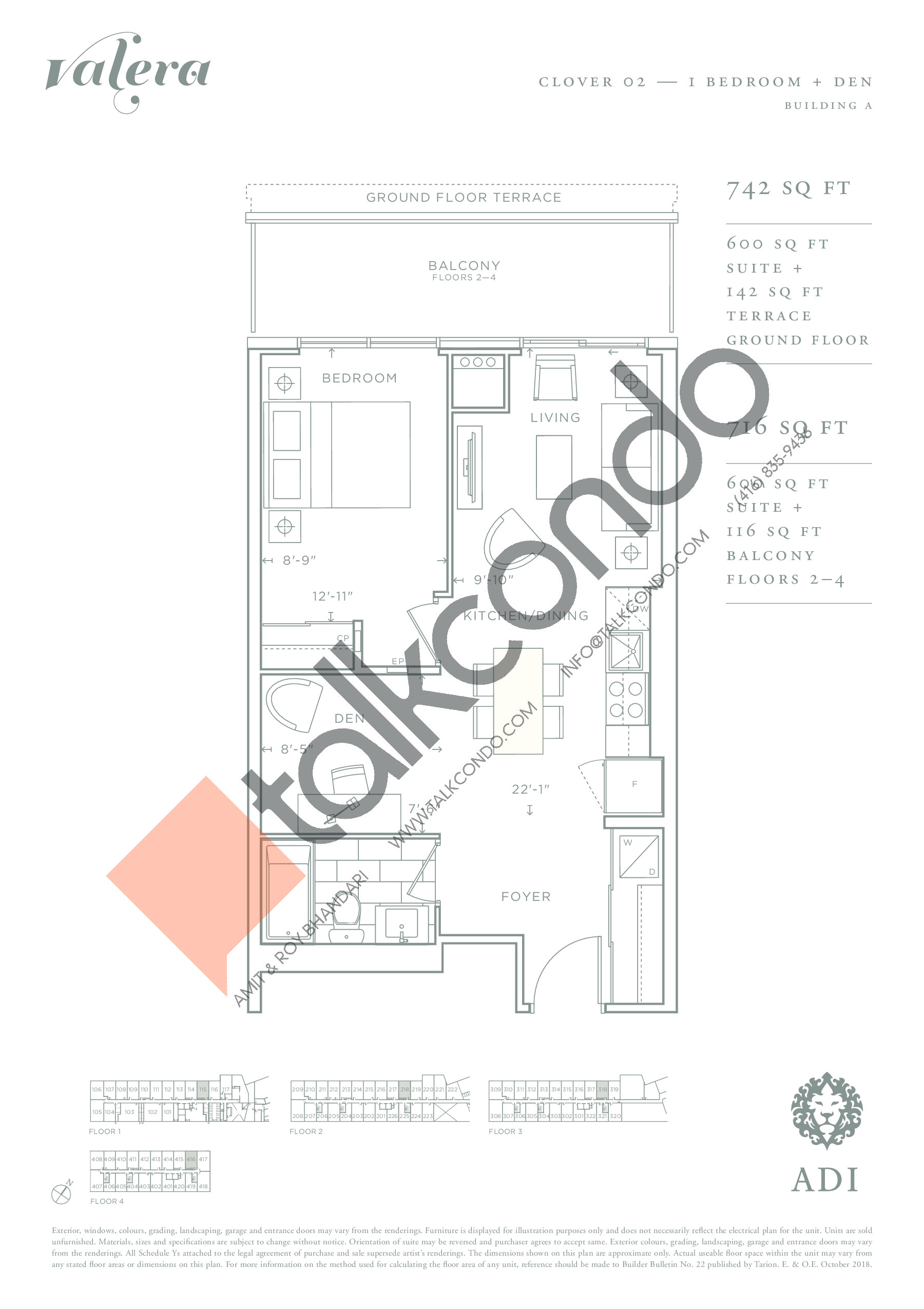 Clover 02 Floor Plan at Valera Condos - 600 sq.ft