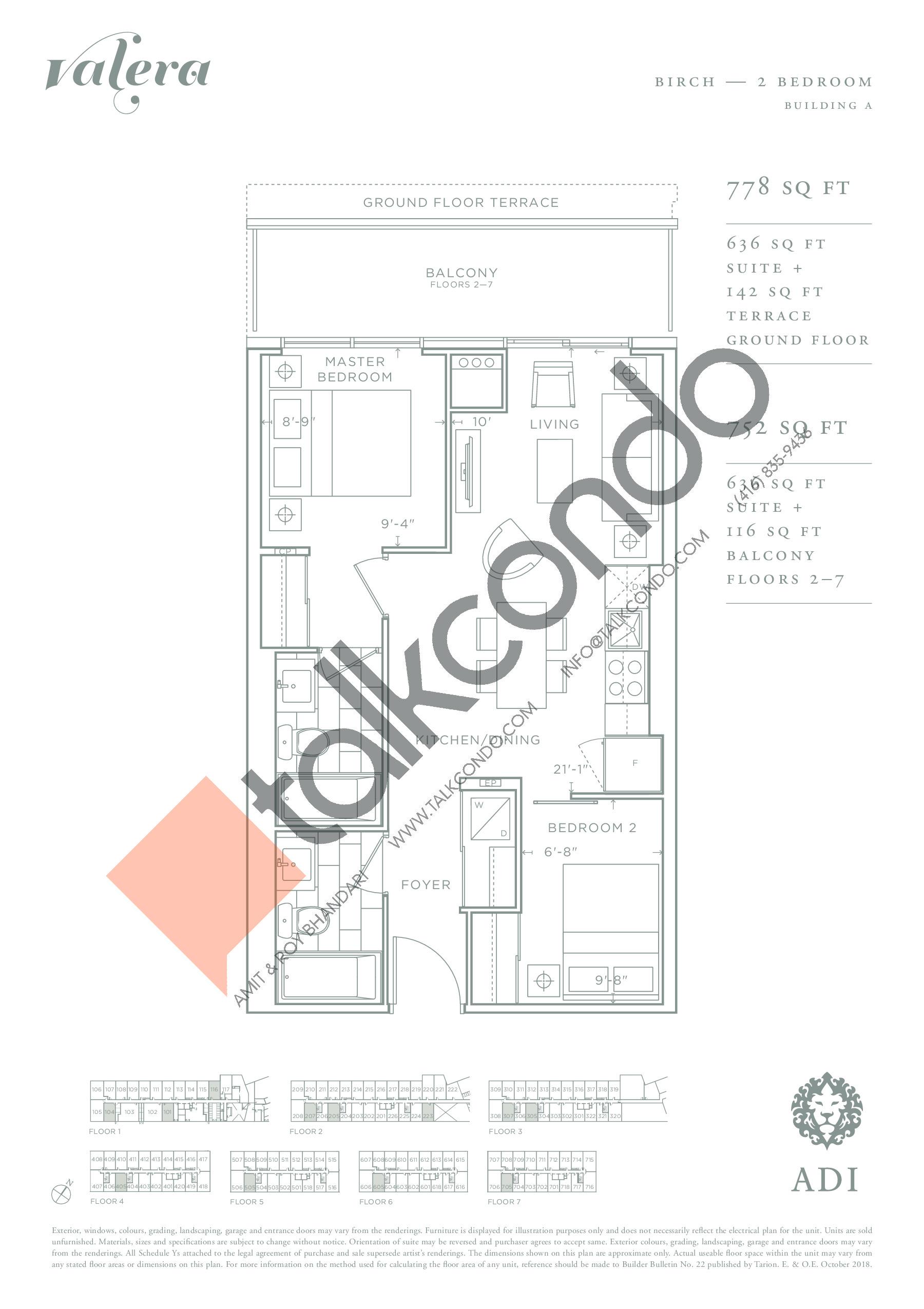 Birch Floor Plan at Valera Condos - 636 sq.ft