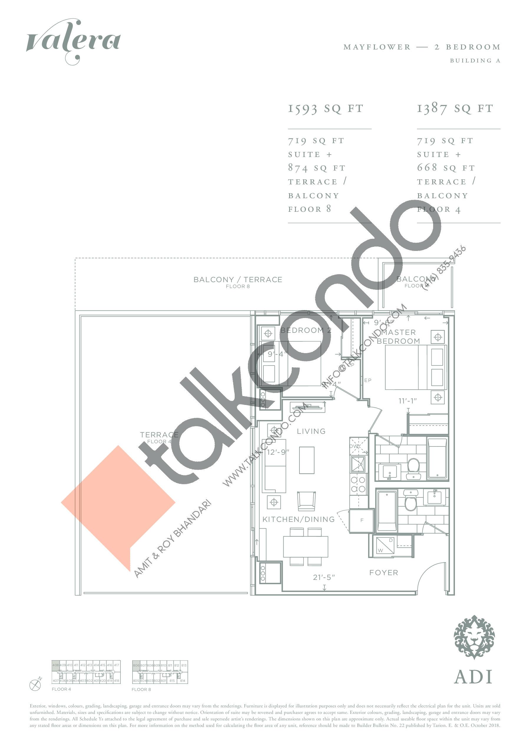 Mayflower Floor Plan at Valera Condos - 719 sq.ft