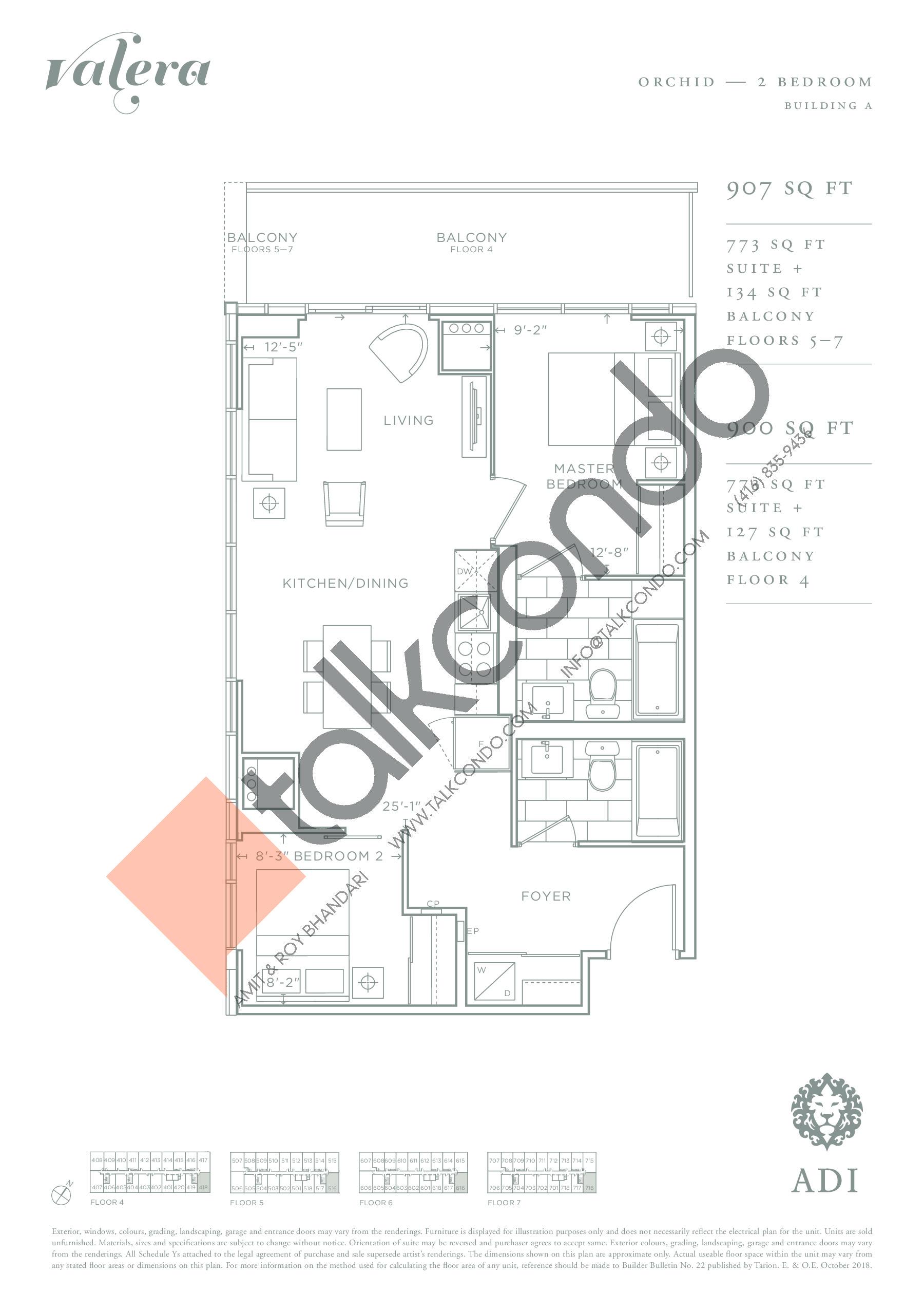 Orchid Floor Plan at Valera Condos - 773 sq.ft