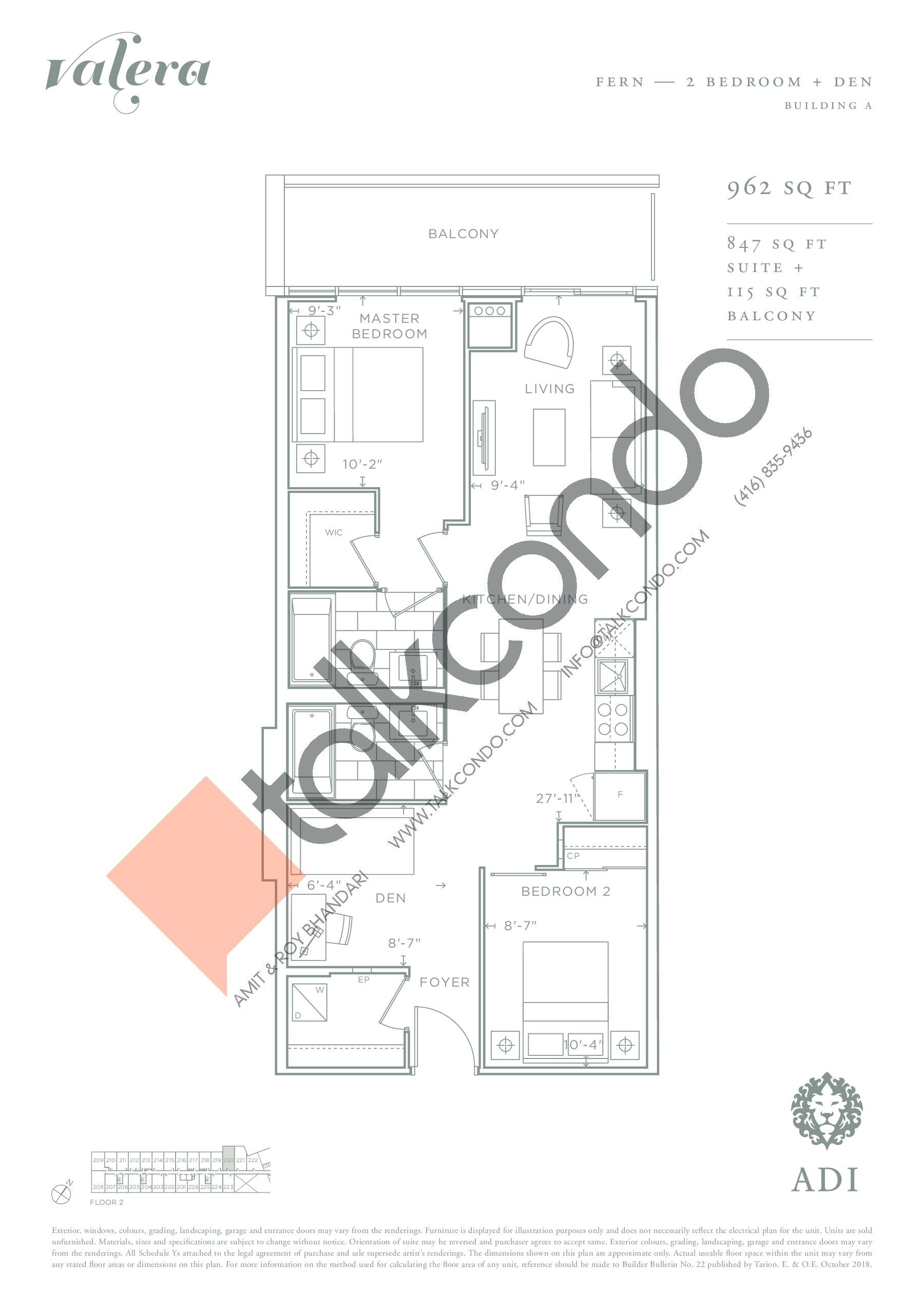 Fern Floor Plan at Valera Condos - 847 sq.ft