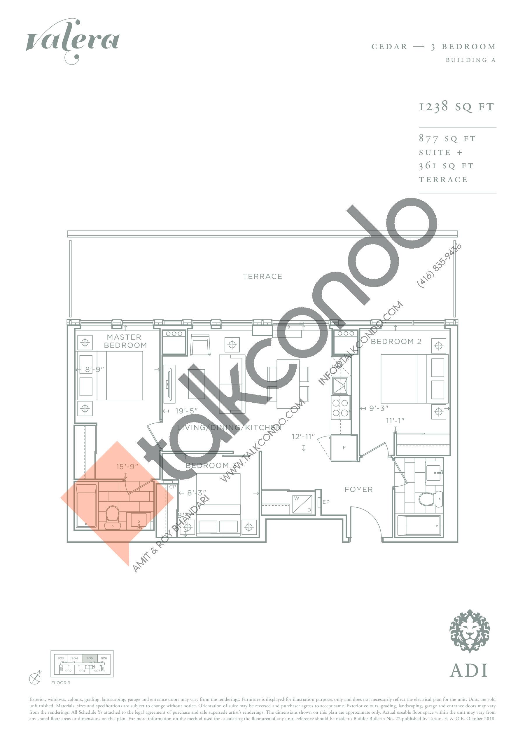 Cedar Floor Plan at Valera Condos - 877 sq.ft