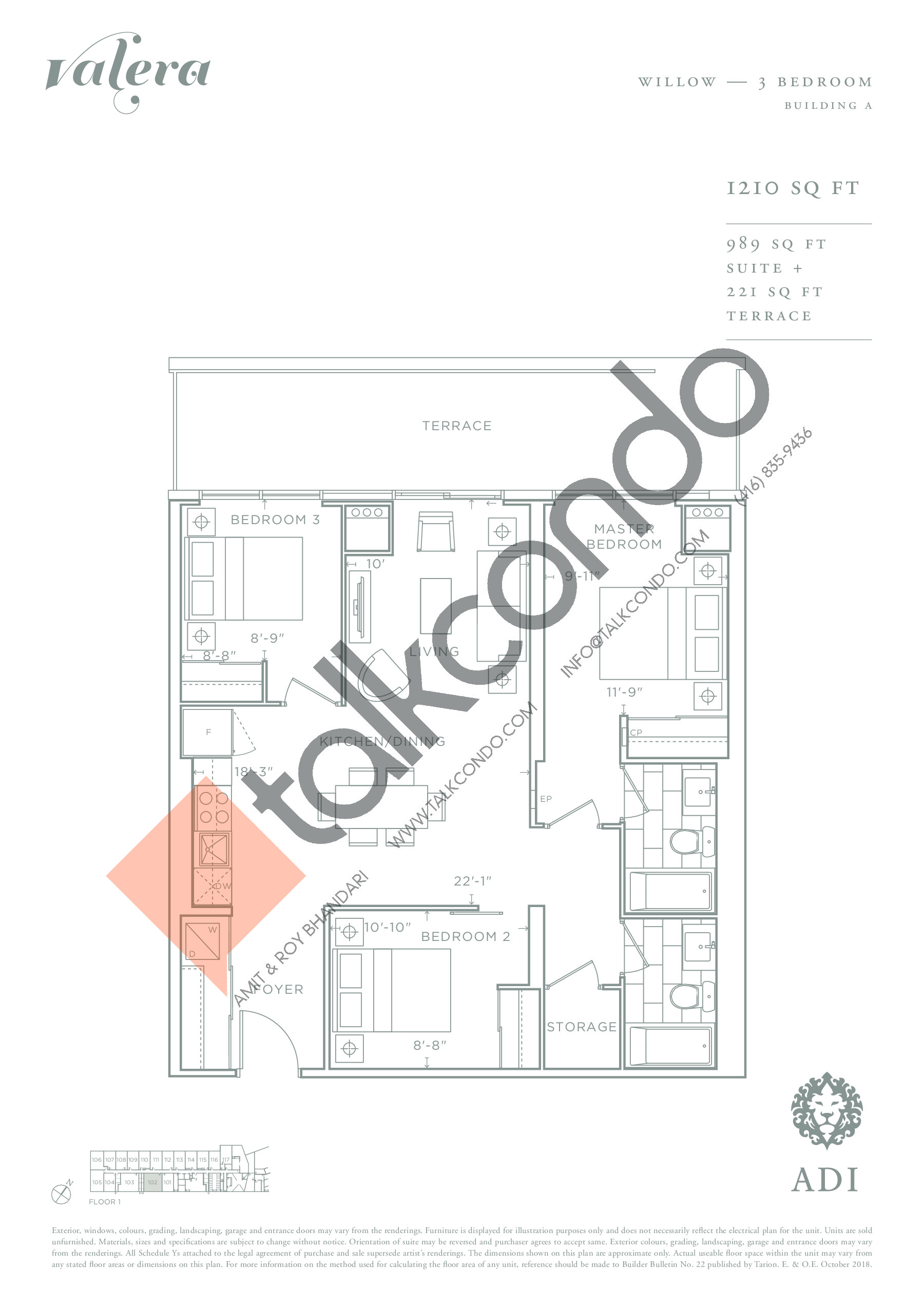 Willow Floor Plan at Valera Condos - 989 sq.ft