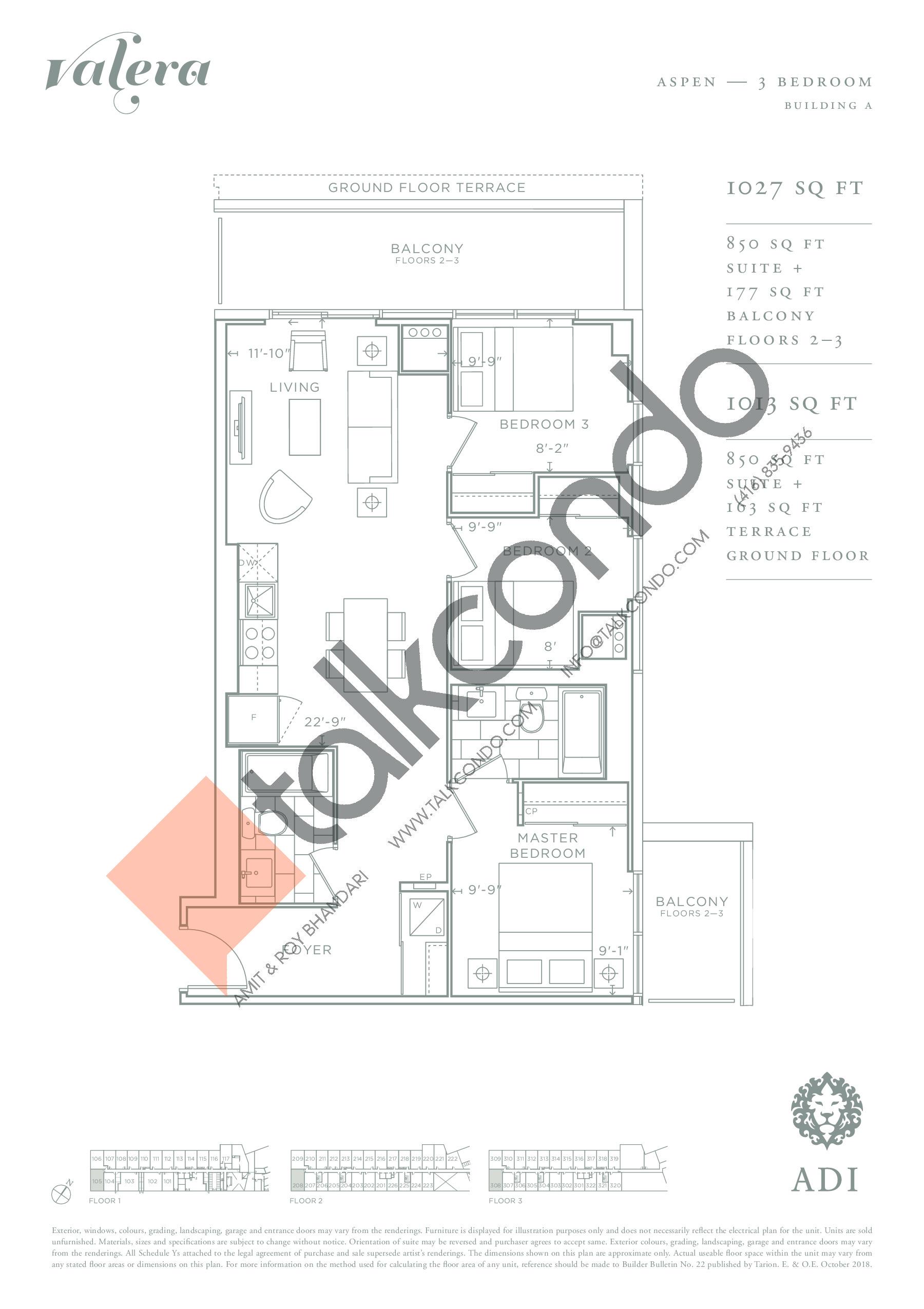 Aspen Floor Plan at Valera Condos - 850 sq.ft