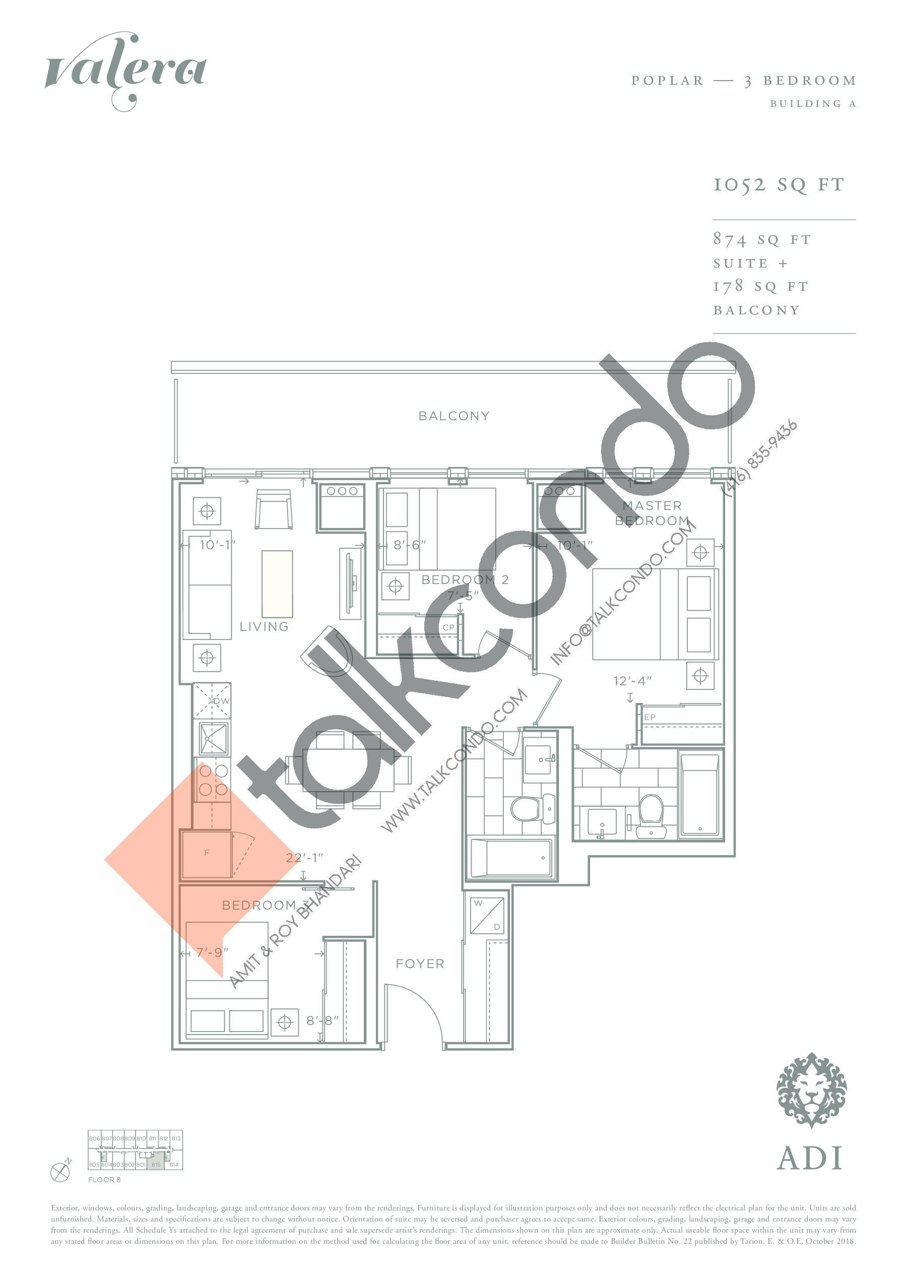 Poplar Floor Plan at Valera Condos - 874 sq.ft