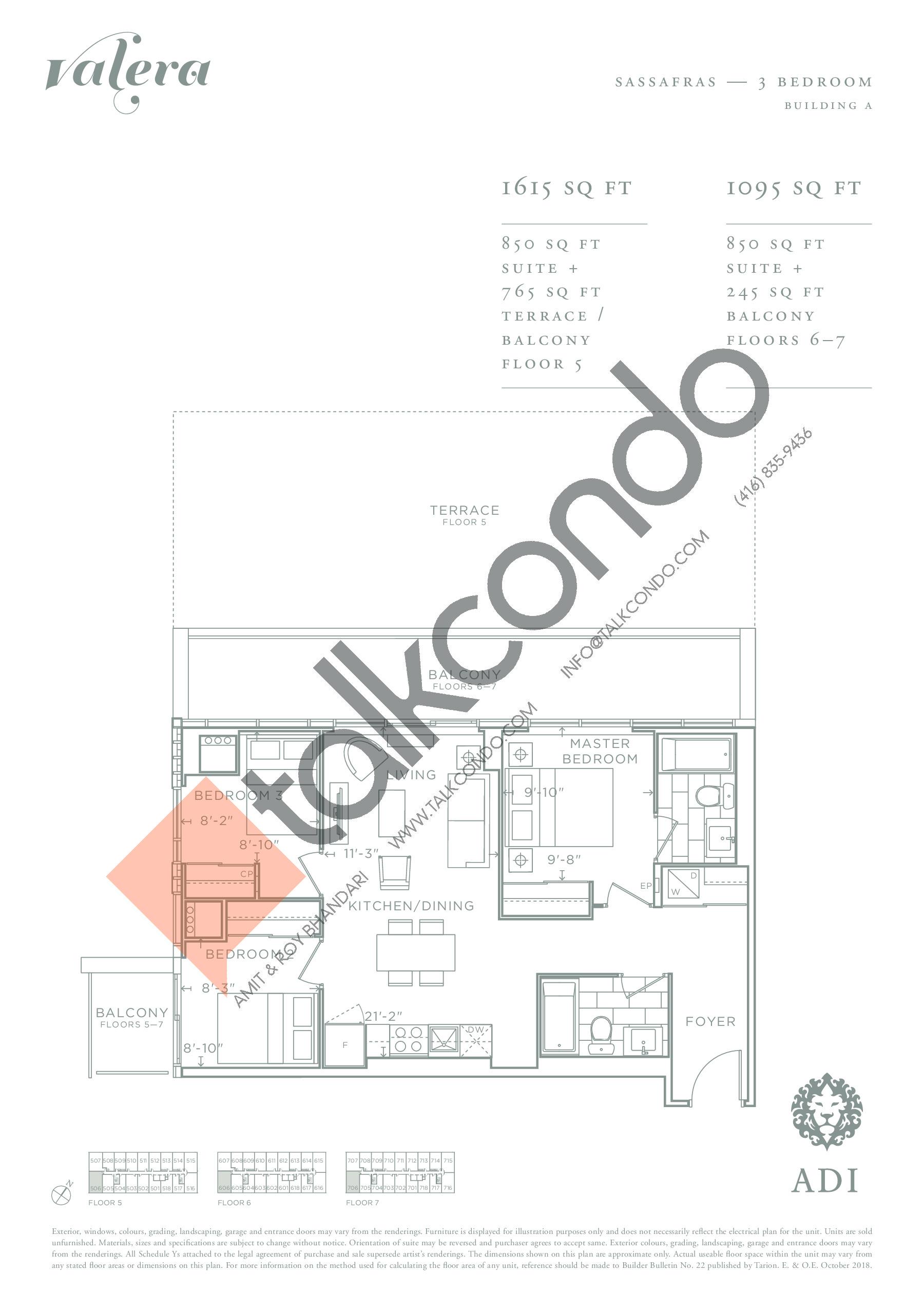 Sassafras Floor Plan at Valera Condos - 850 sq.ft