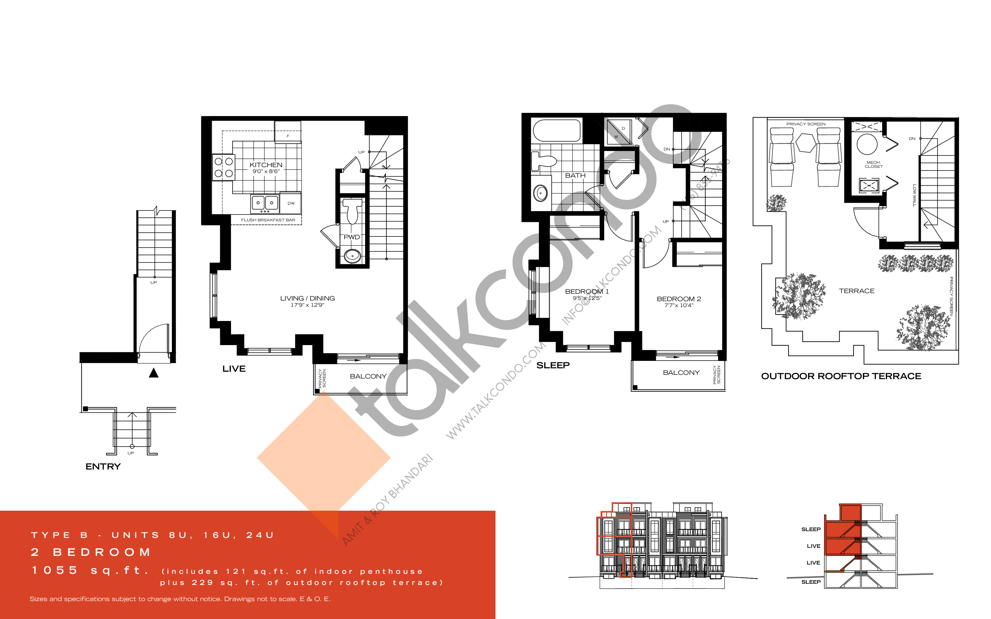 Type B Floor Plan at Wycliffe at the Promenade - 1055 sq.ft