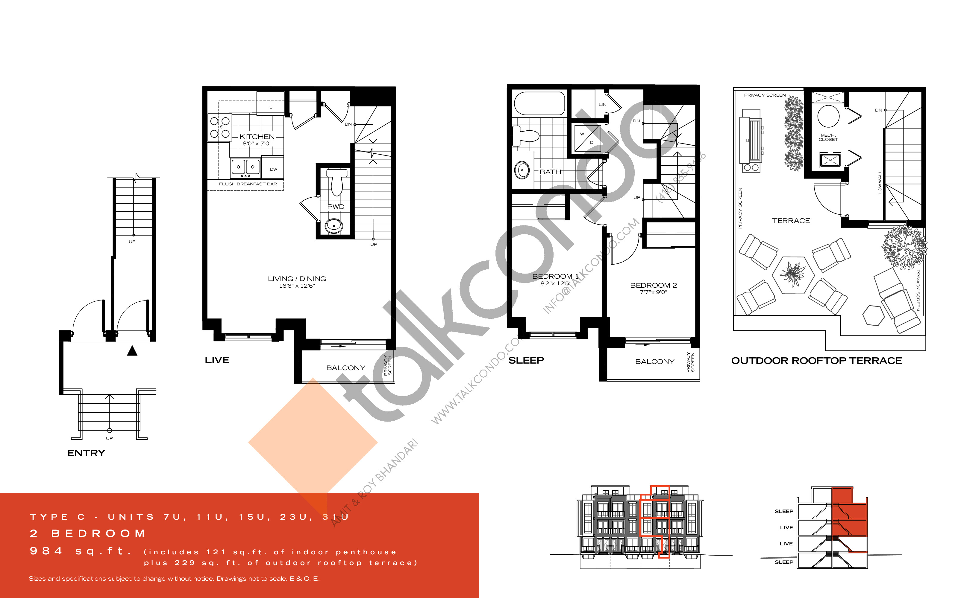 Type C Floor Plan at Wycliffe at the Promenade - 984 sq.ft