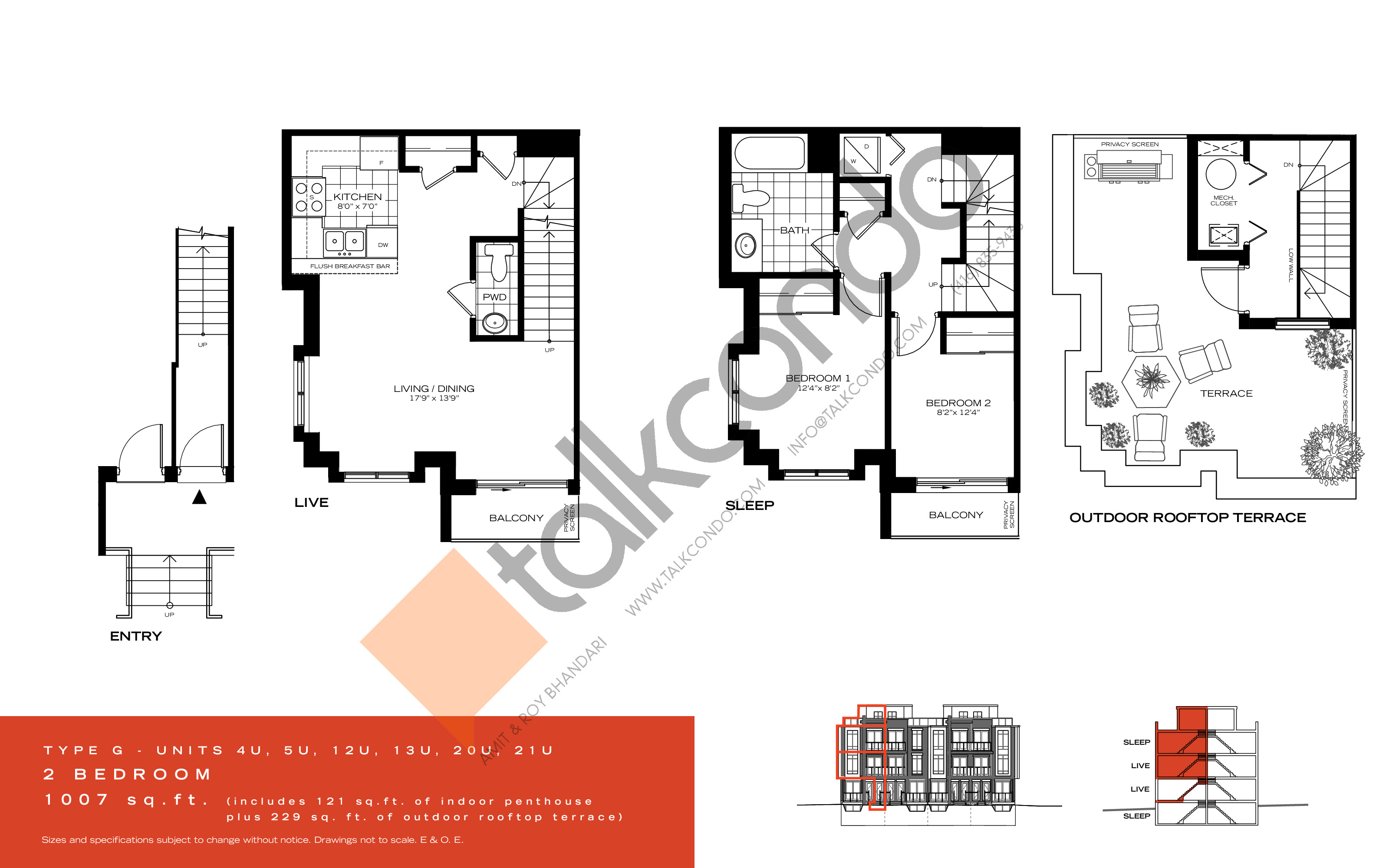 Type G Floor Plan at Wycliffe at the Promenade - 1007 sq.ft