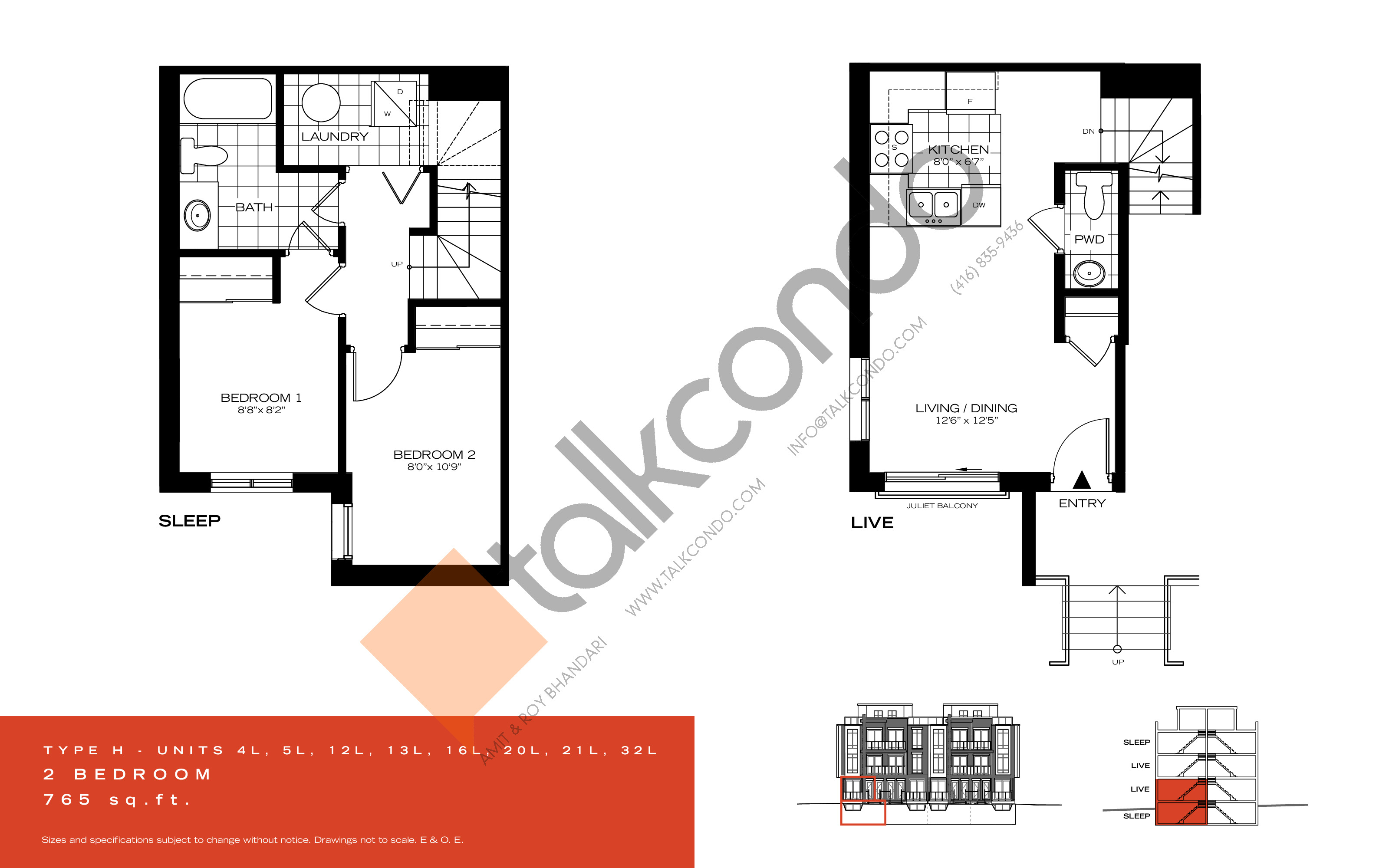 Type H Floor Plan at Wycliffe at the Promenade - 765 sq.ft