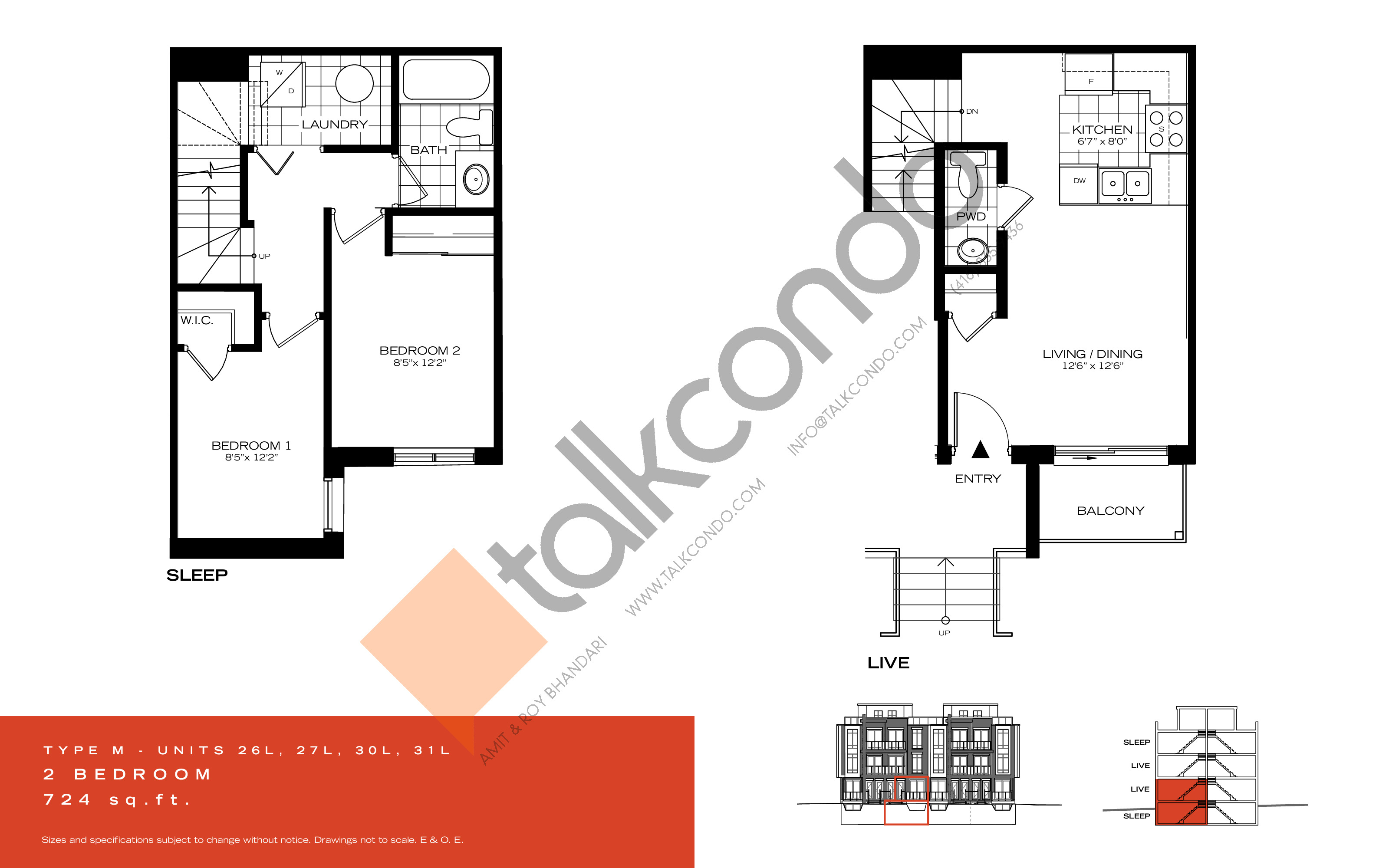 Type M Floor Plan at Wycliffe at the Promenade - 724 sq.ft