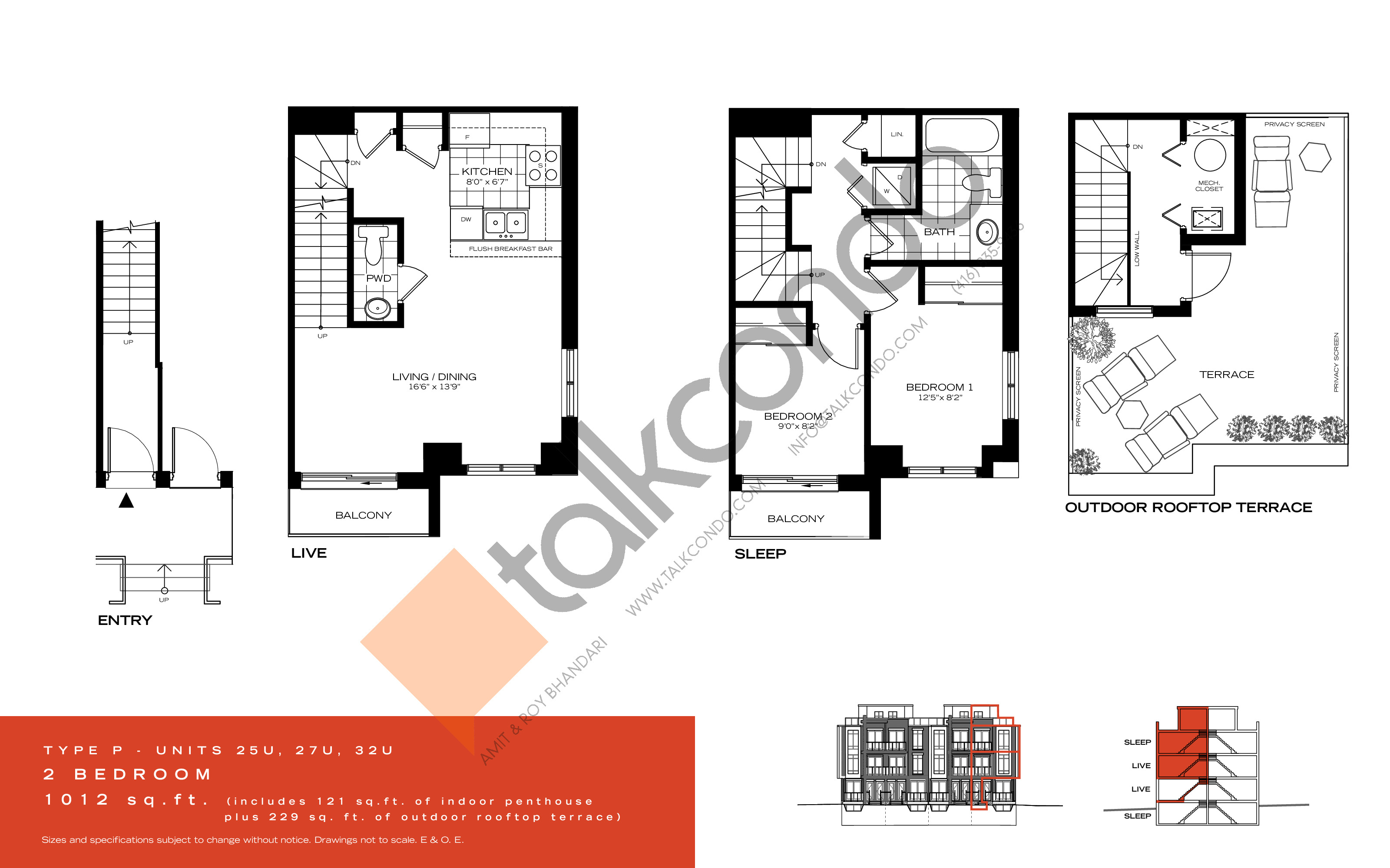Type P Floor Plan at Wycliffe at the Promenade - 1012 sq.ft