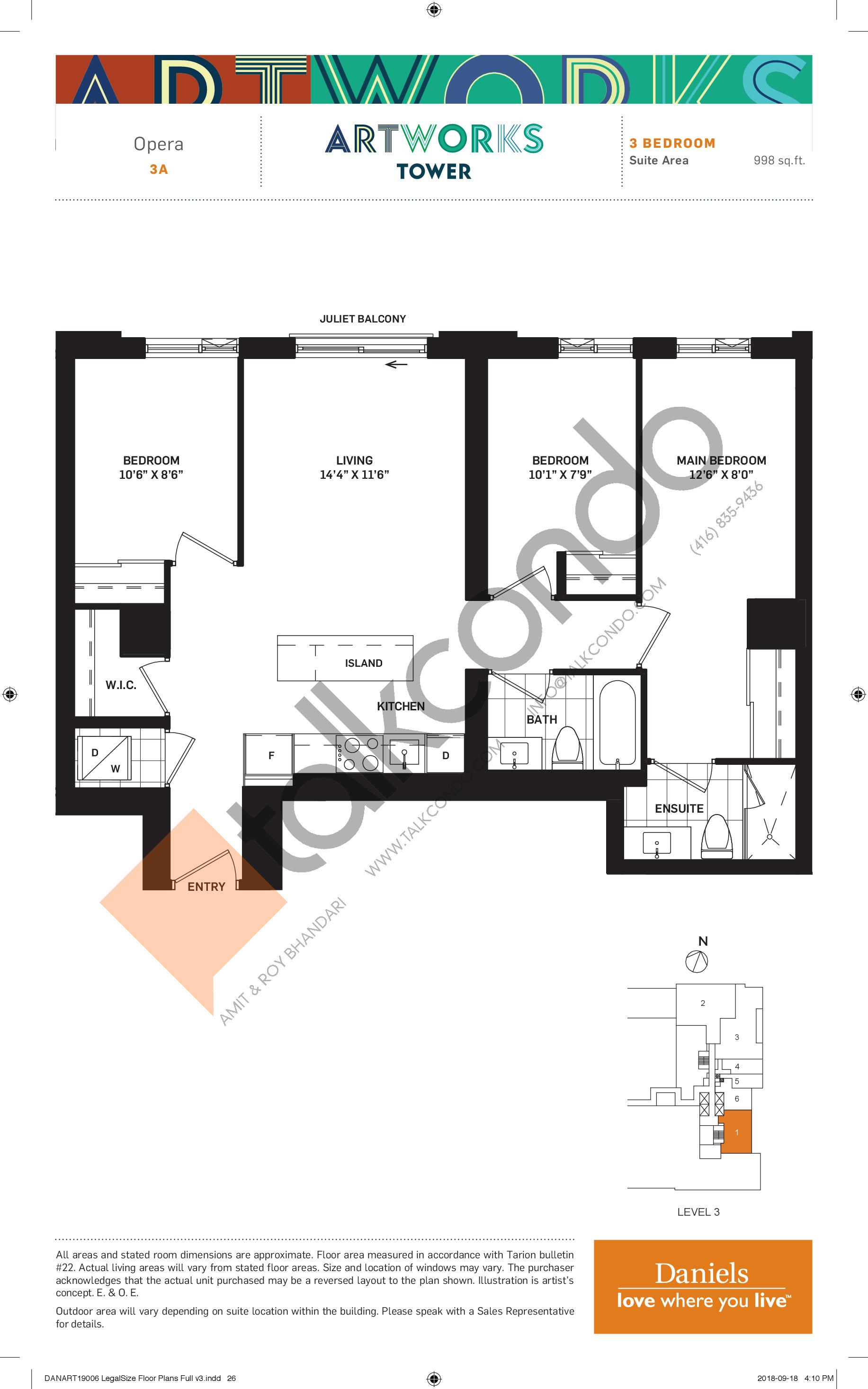 Opera Floor Plan at Artworks Tower Condos - 998 sq.ft