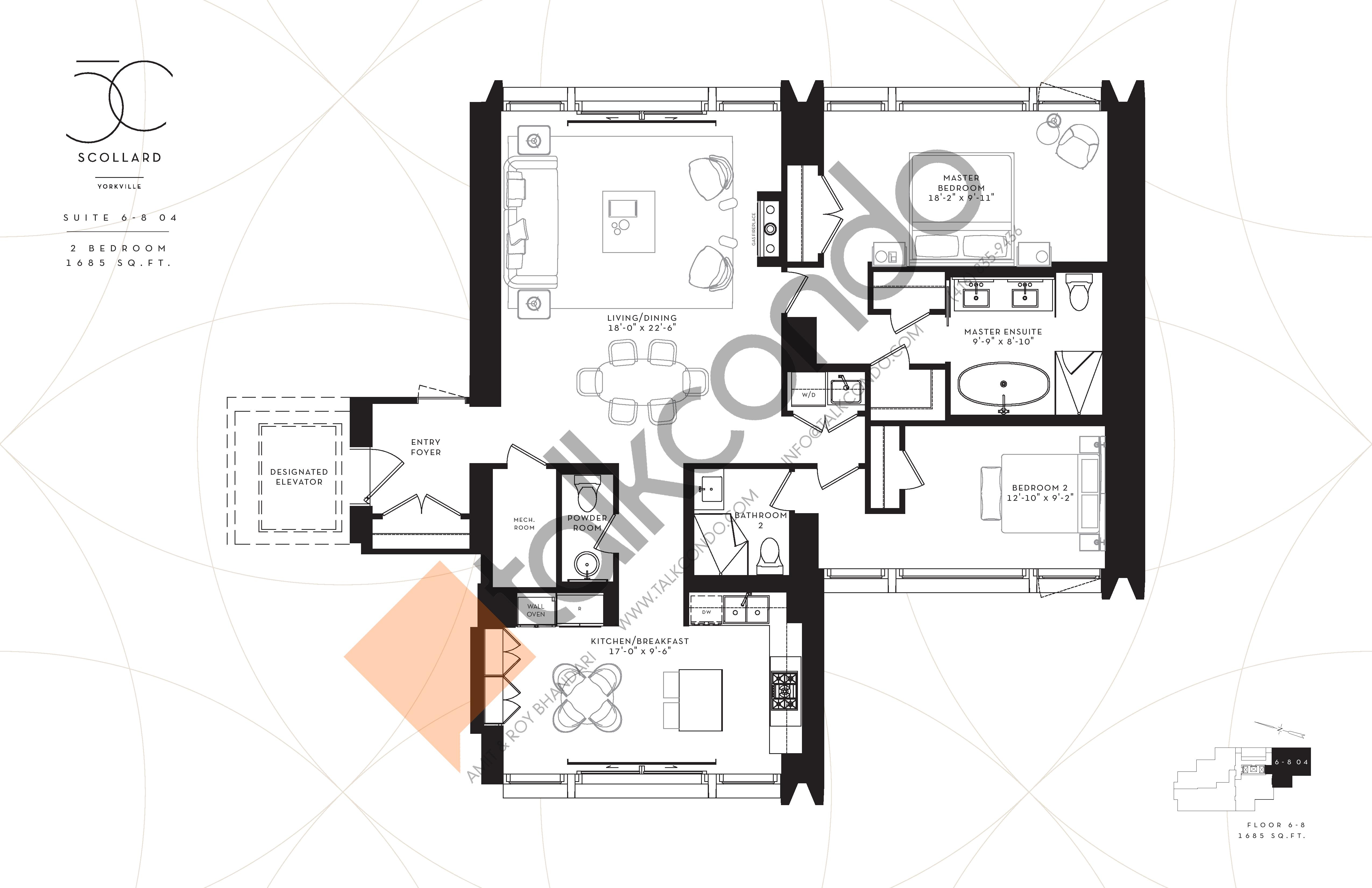 Suite 6-8 04 Floor Plan at Fifty Scollard Condos - 1685 sq.ft