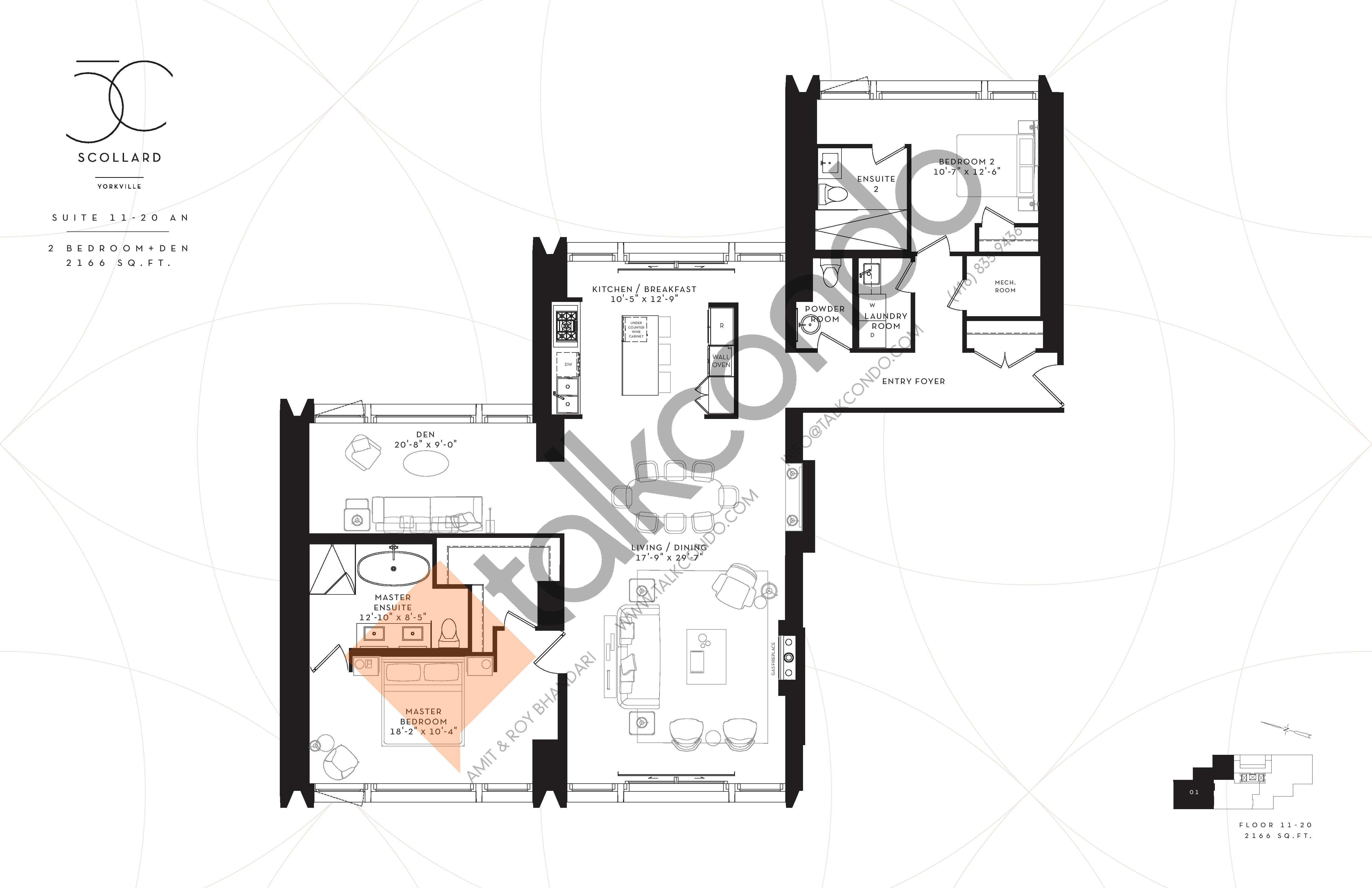 Suite 11-20 AN Floor Plan at Fifty Scollard Condos - 2166 sq.ft