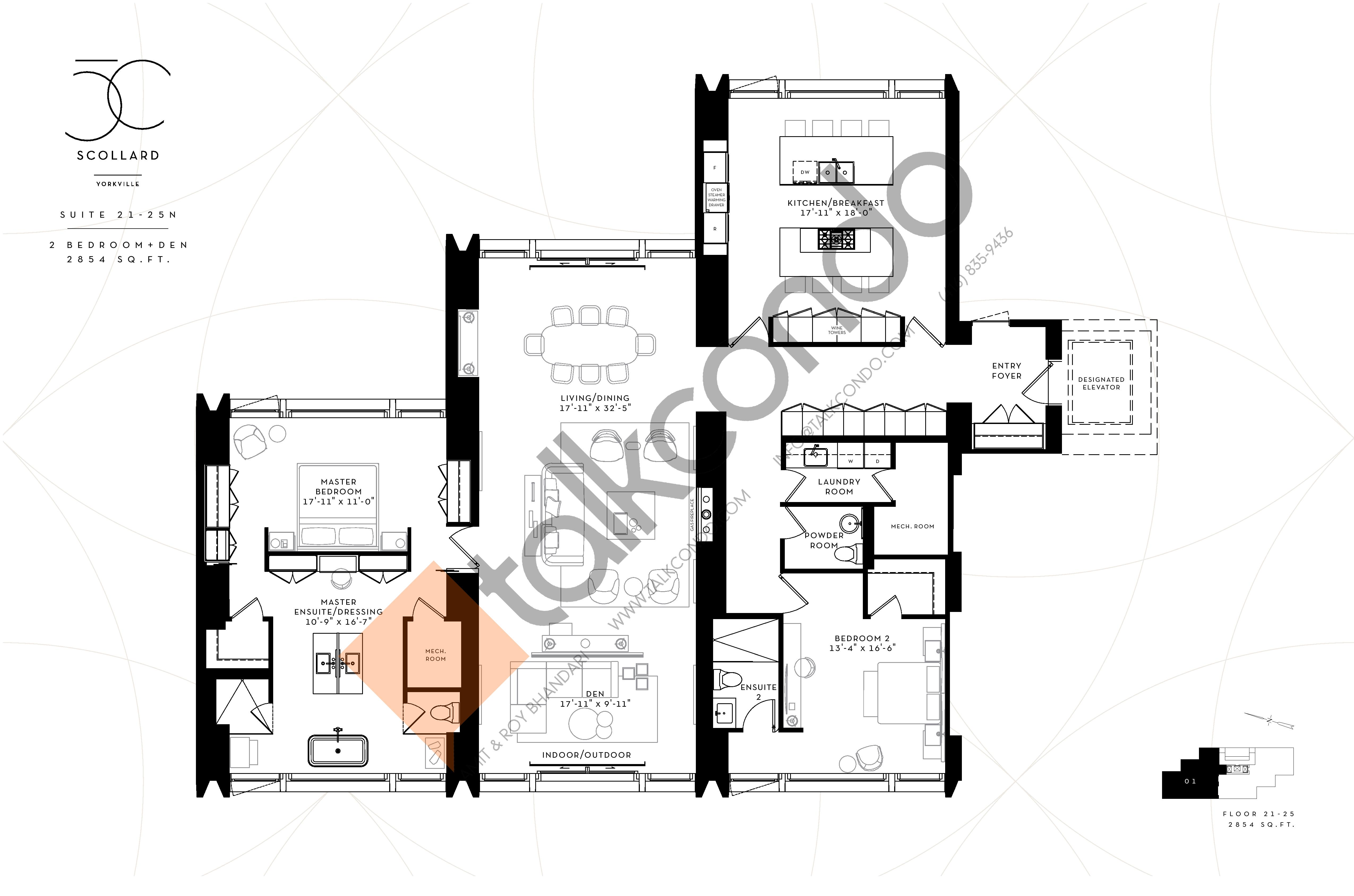 Suite 24-25N Floor Plan at Fifty Scollard Condos - 2854 sq.ft