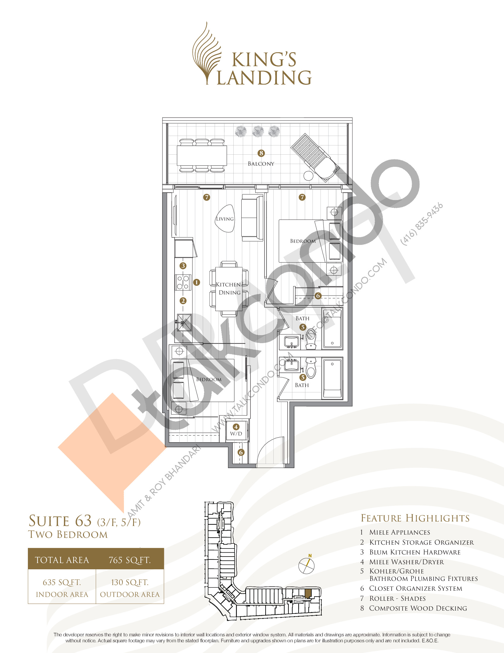Suite 63 - Crescent Collection Floor Plan at King's Landing Condos - 635 sq.ft