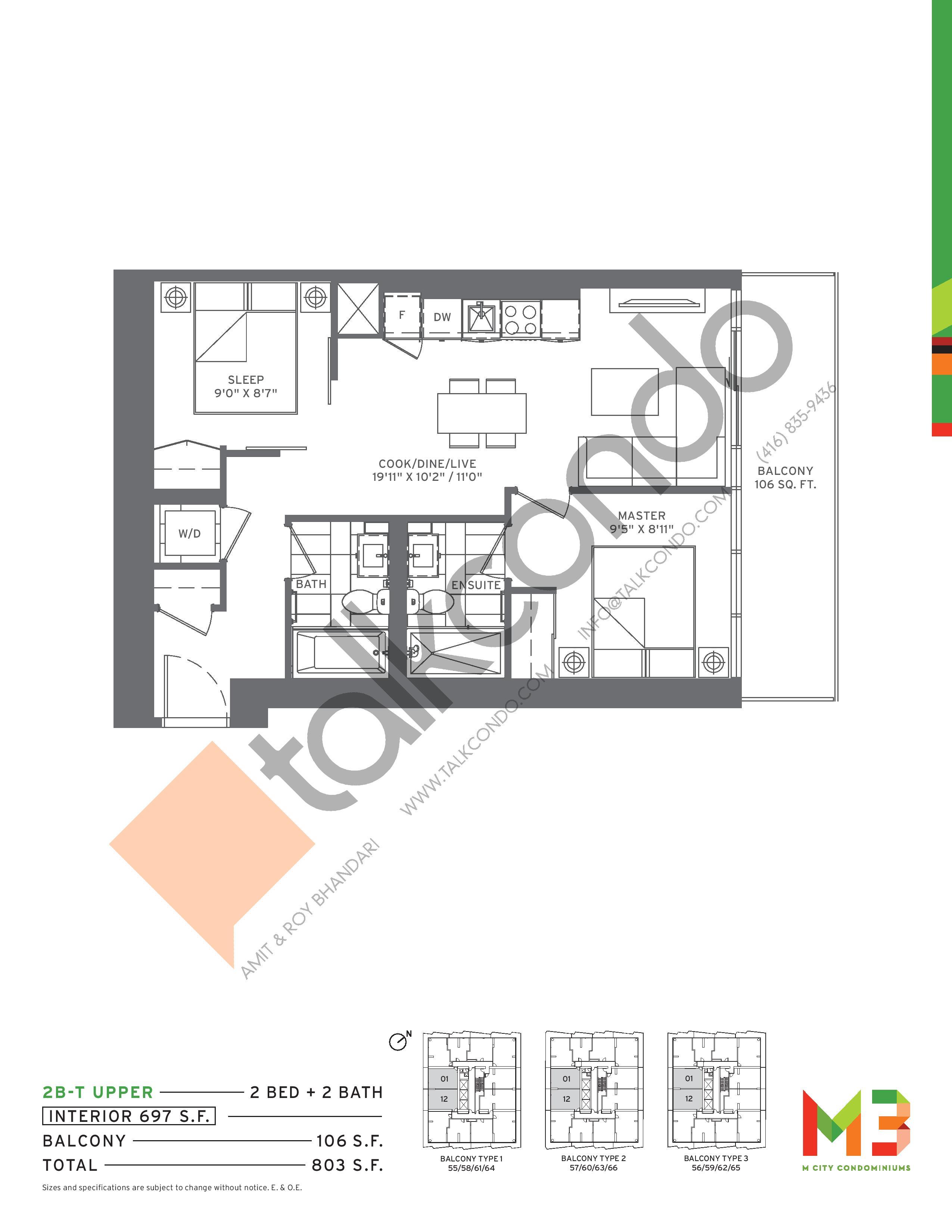 2B-T UPPER Floor Plan at M3 Condos - 697 sq.ft
