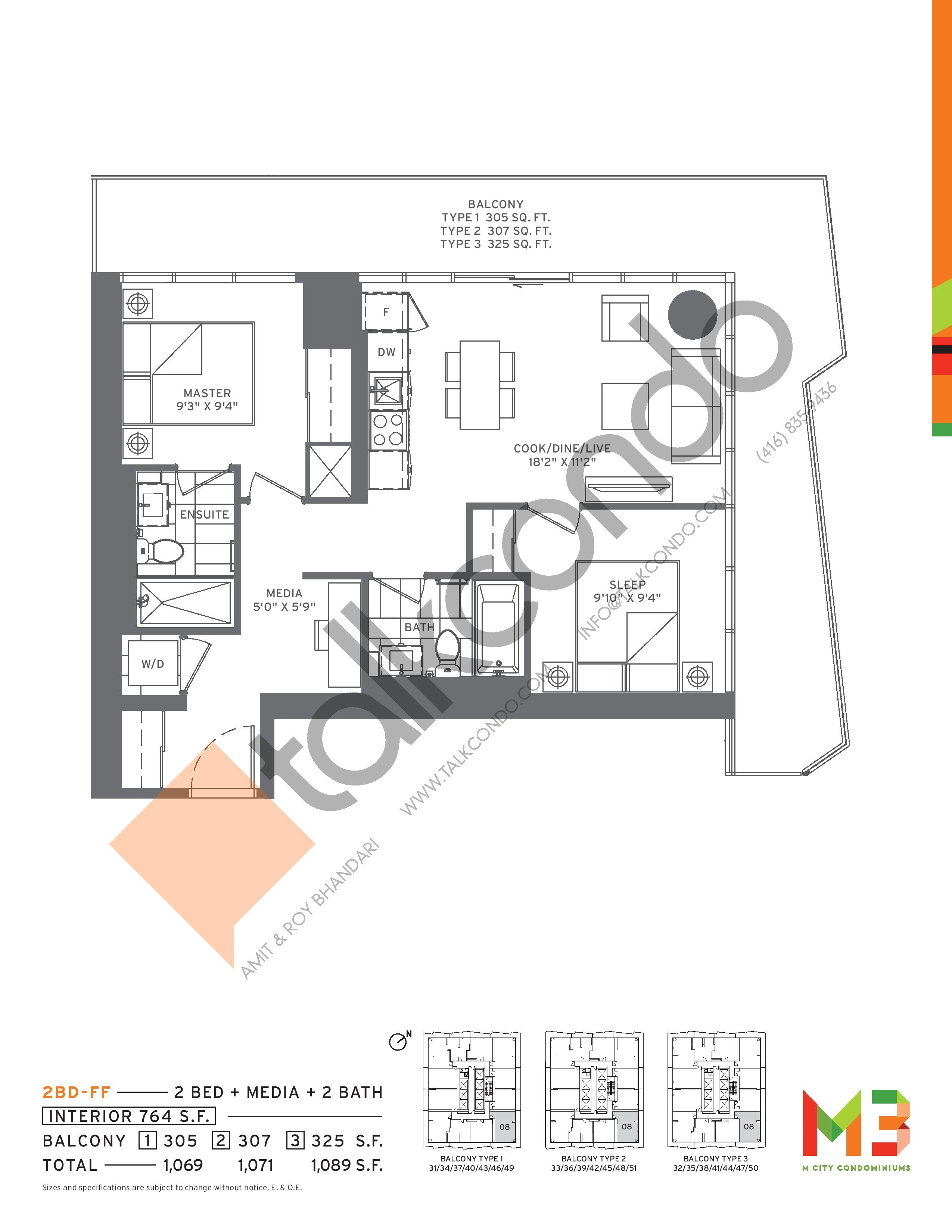 2BD-FF Floor Plan at M3 Condos - 764 sq.ft