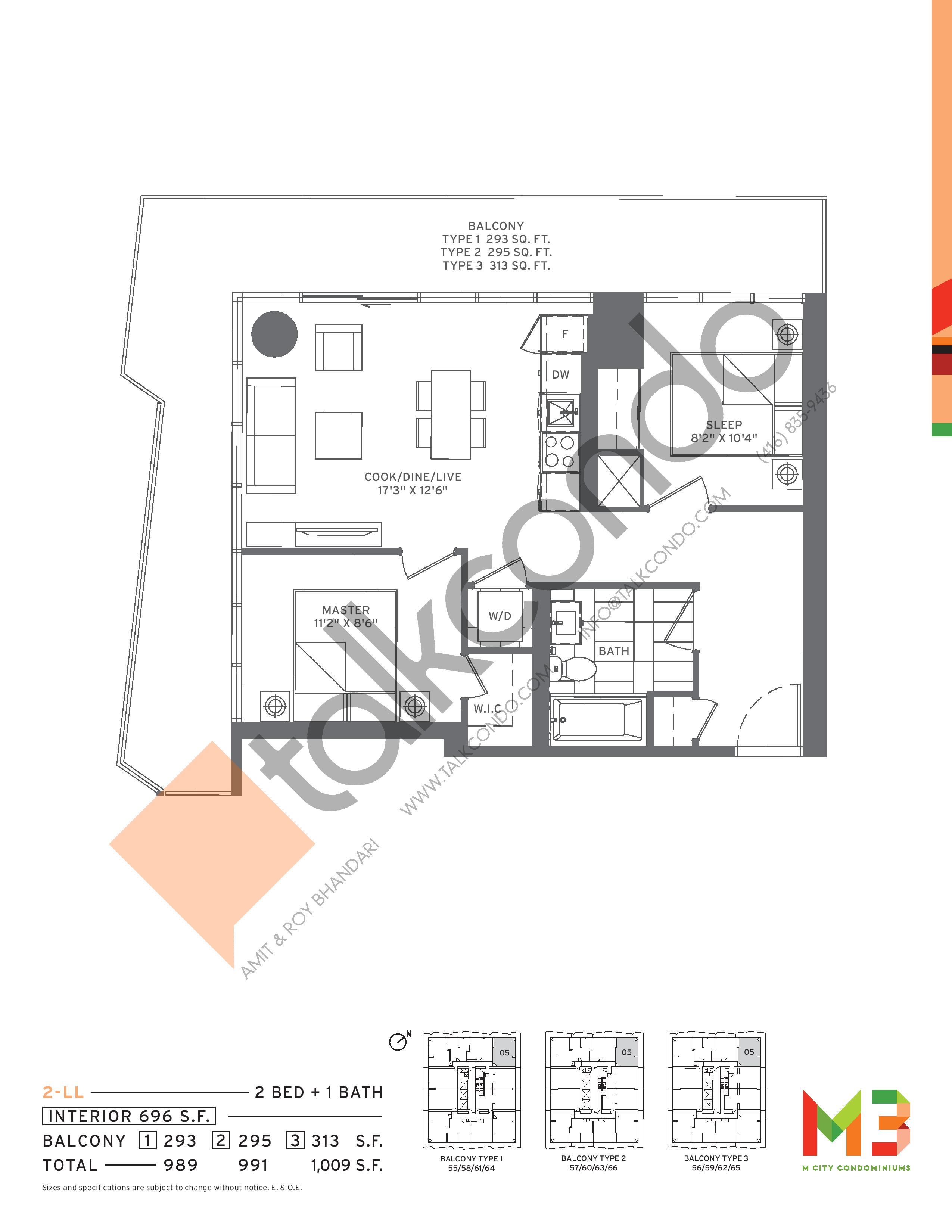 2-LL Floor Plan at M3 Condos - 696 sq.ft