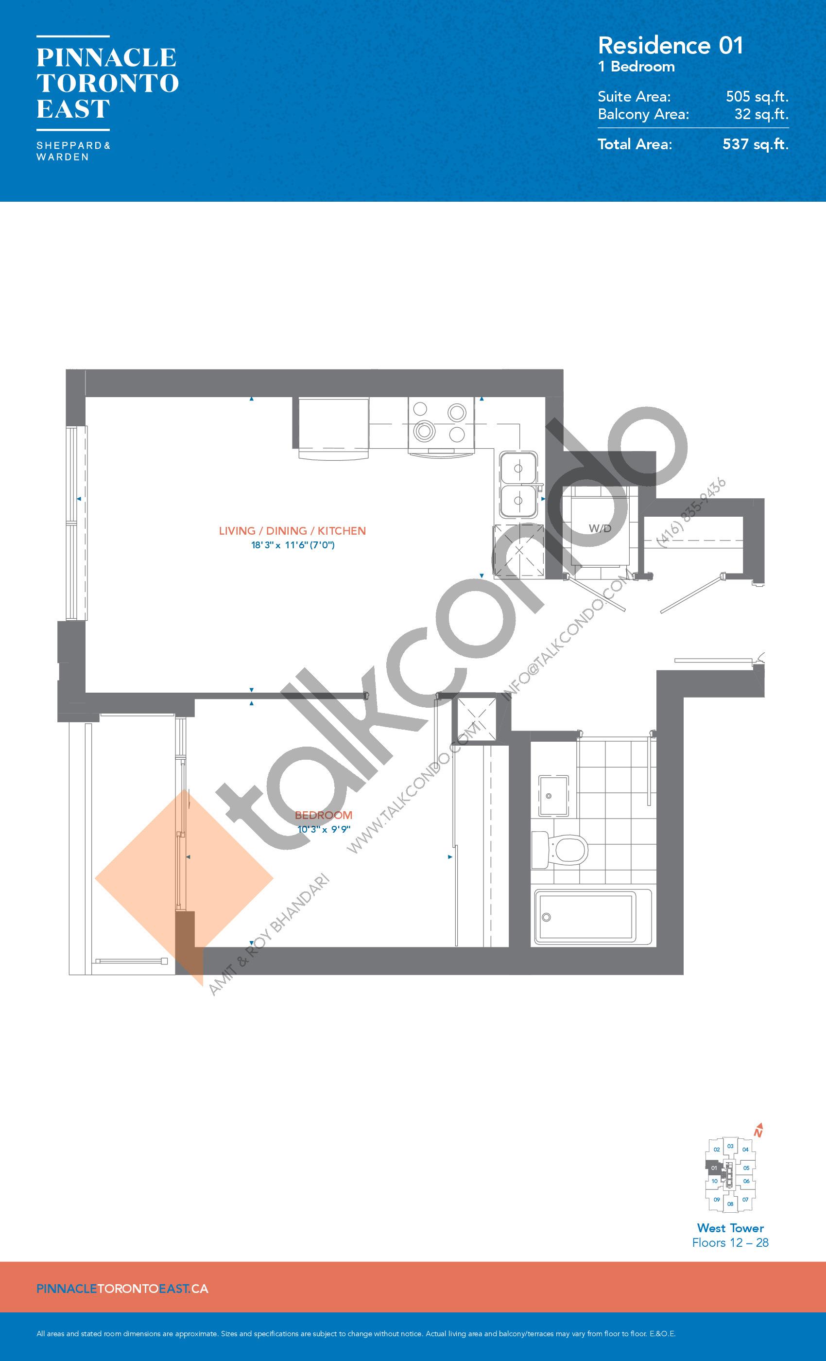 Residence 01 - West Tower Floor Plan at Pinnacle Toronto East Condos - 505 sq.ft