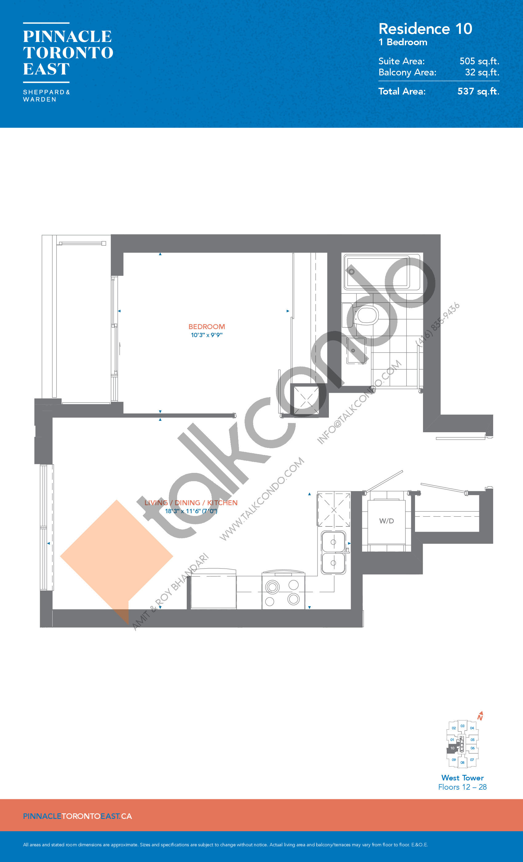 Residence 10 - West Tower Floor Plan at Pinnacle Toronto East Condos - 505 sq.ft