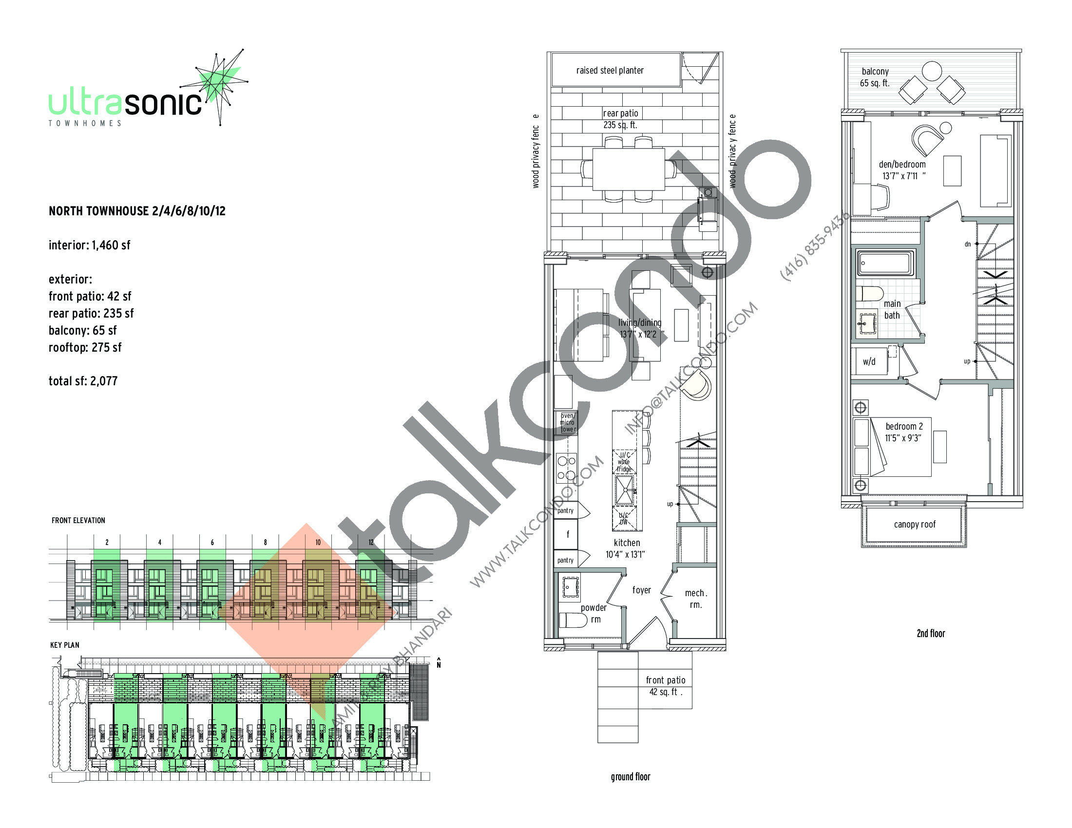 North Townhouse - 2 / 4 / 6 / 8 / 10 / 12 (1/2) Floor Plan at UltraSonic Towns - 1460 sq.ft