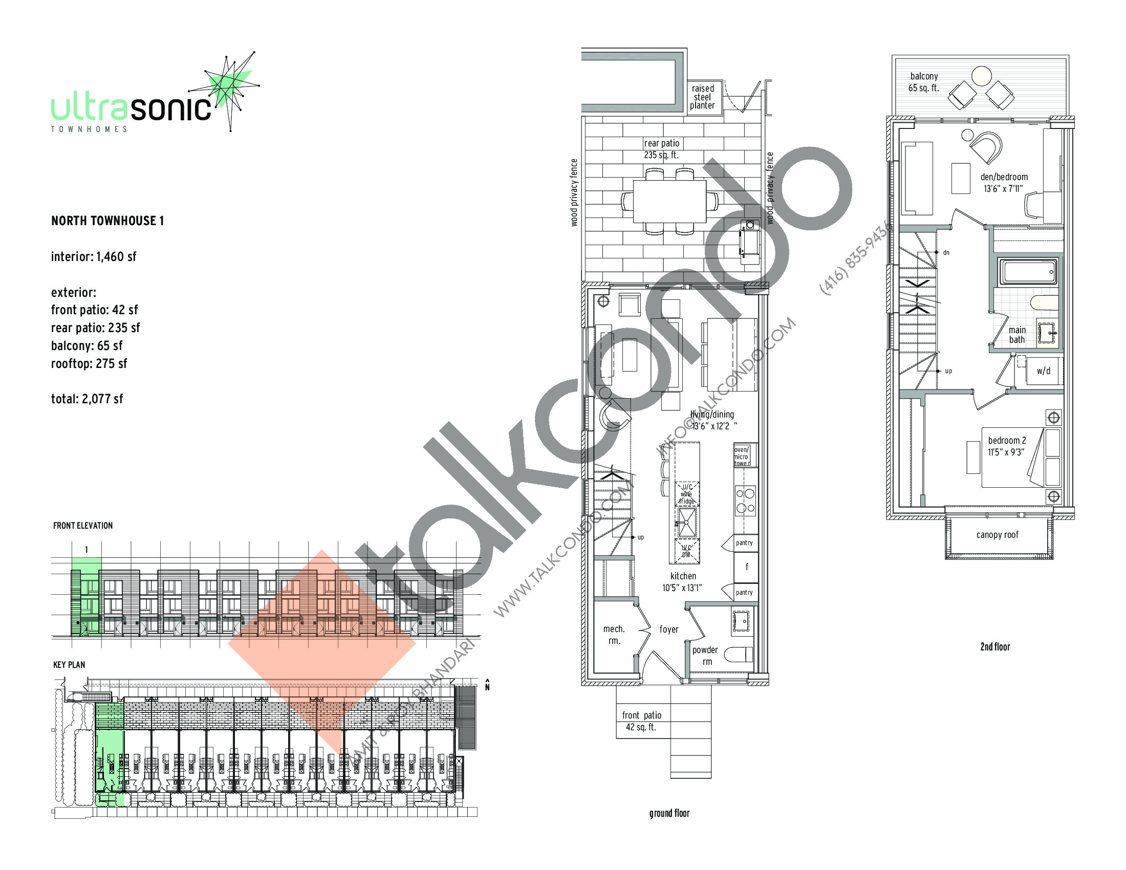 North Townhouse - 1 (1/2) Floor Plan at UltraSonic Towns - 1460 sq.ft