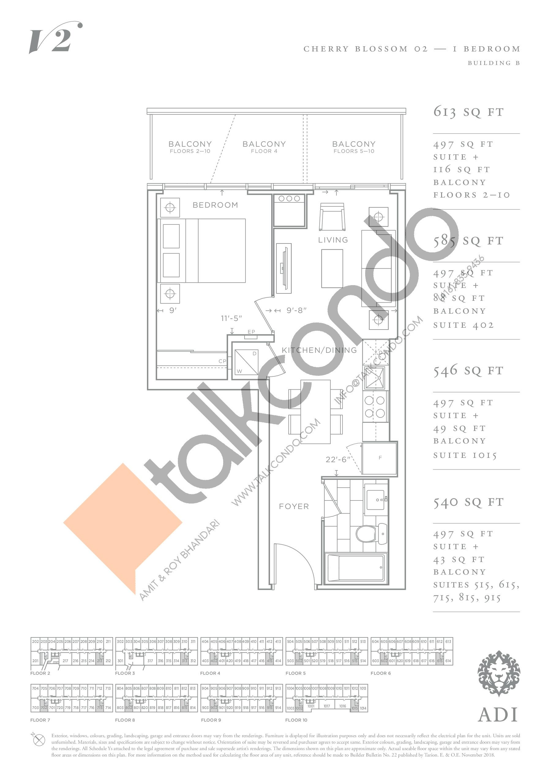 Cherry Blossom 02 Floor Plan at Valera Condos 2 - 497 sq.ft