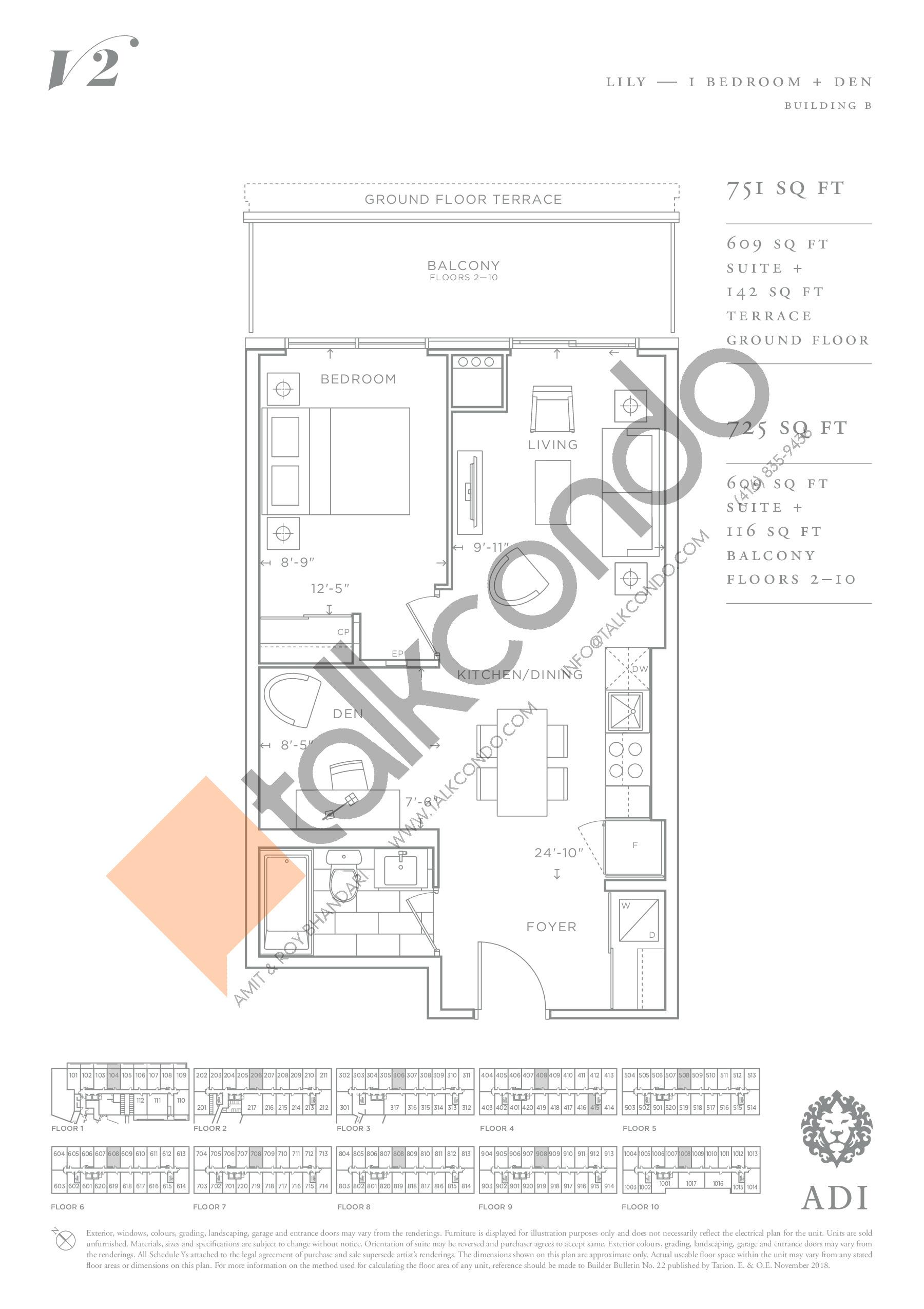 Lily Floor Plan at Valera Condos 2 - 609 sq.ft